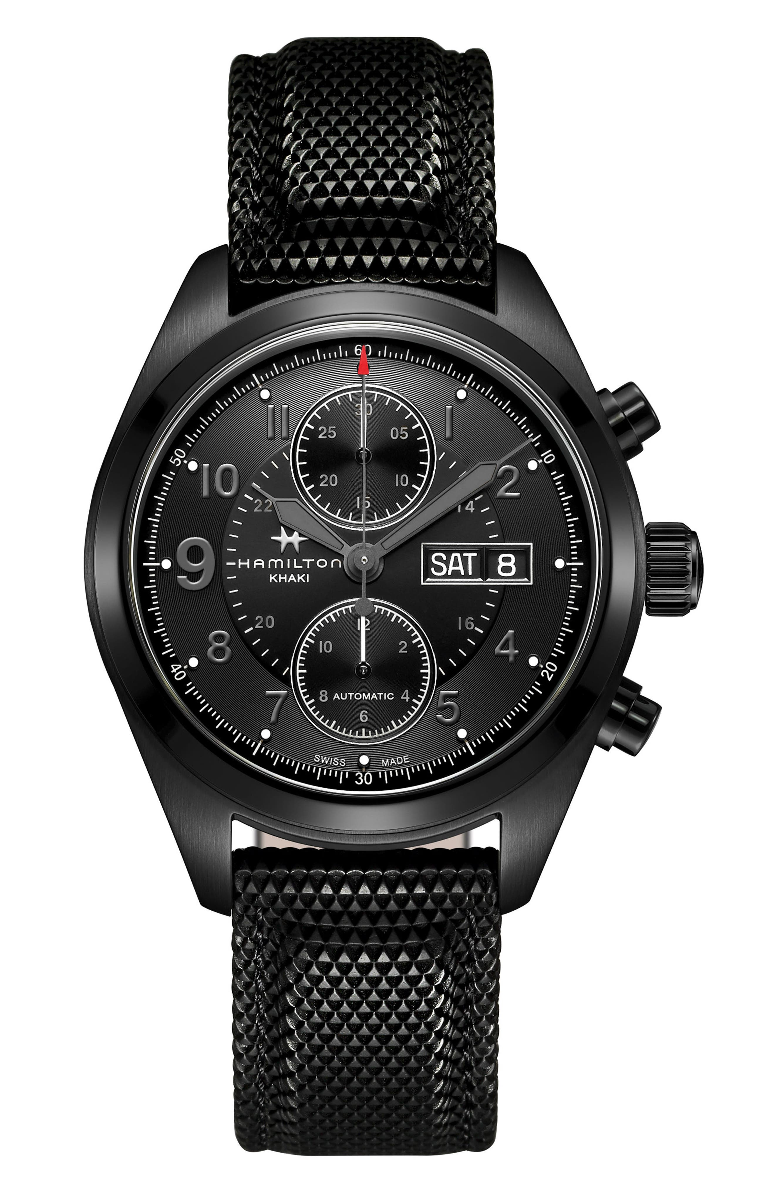 Khaki Field Automatic Chronograph Silicone Strap Watch, 42mm,                         Main,                         color, Black