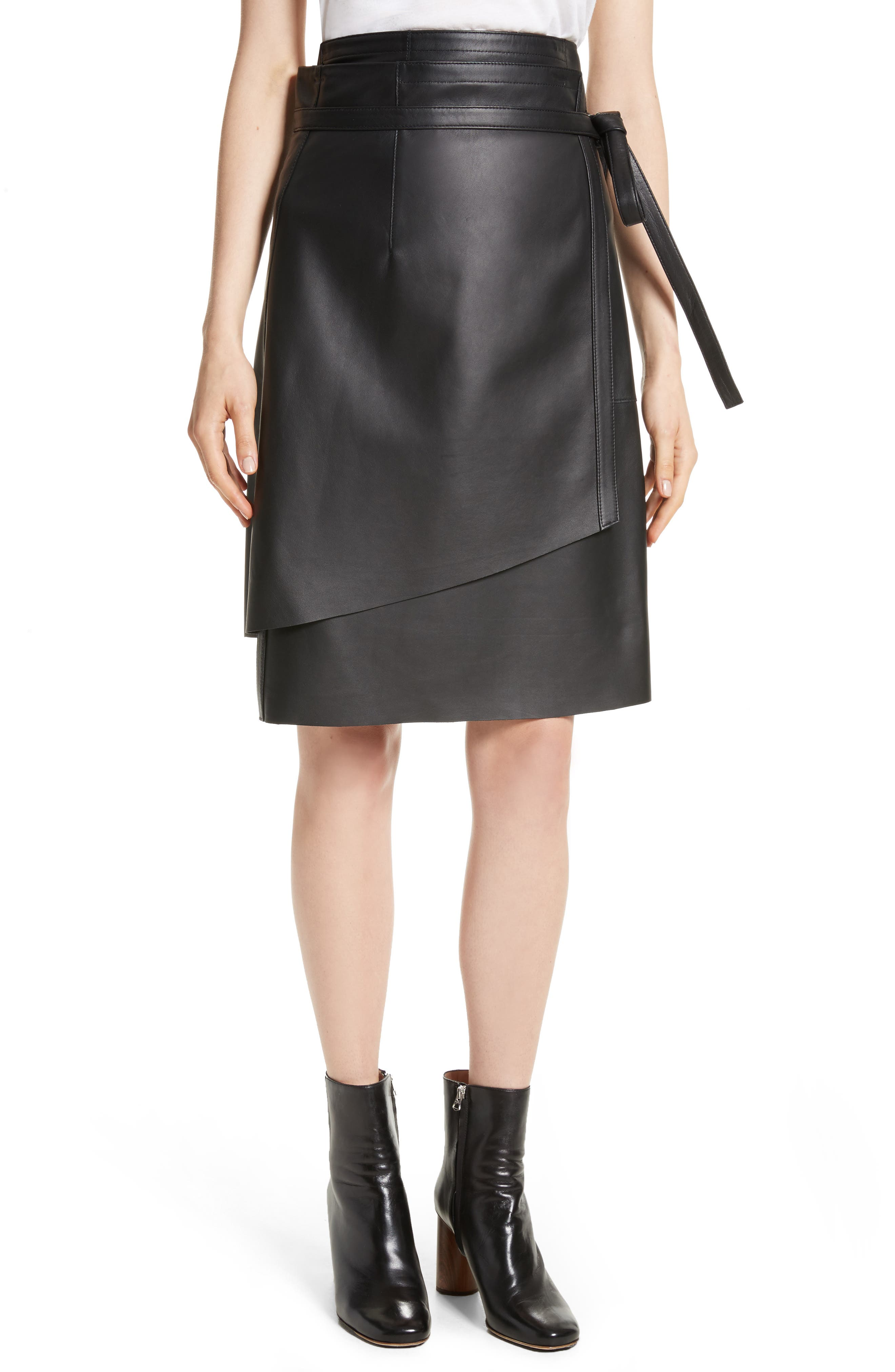 ACNE STUDIOS Lakos Asymmetrical Leather Wrap Skirt