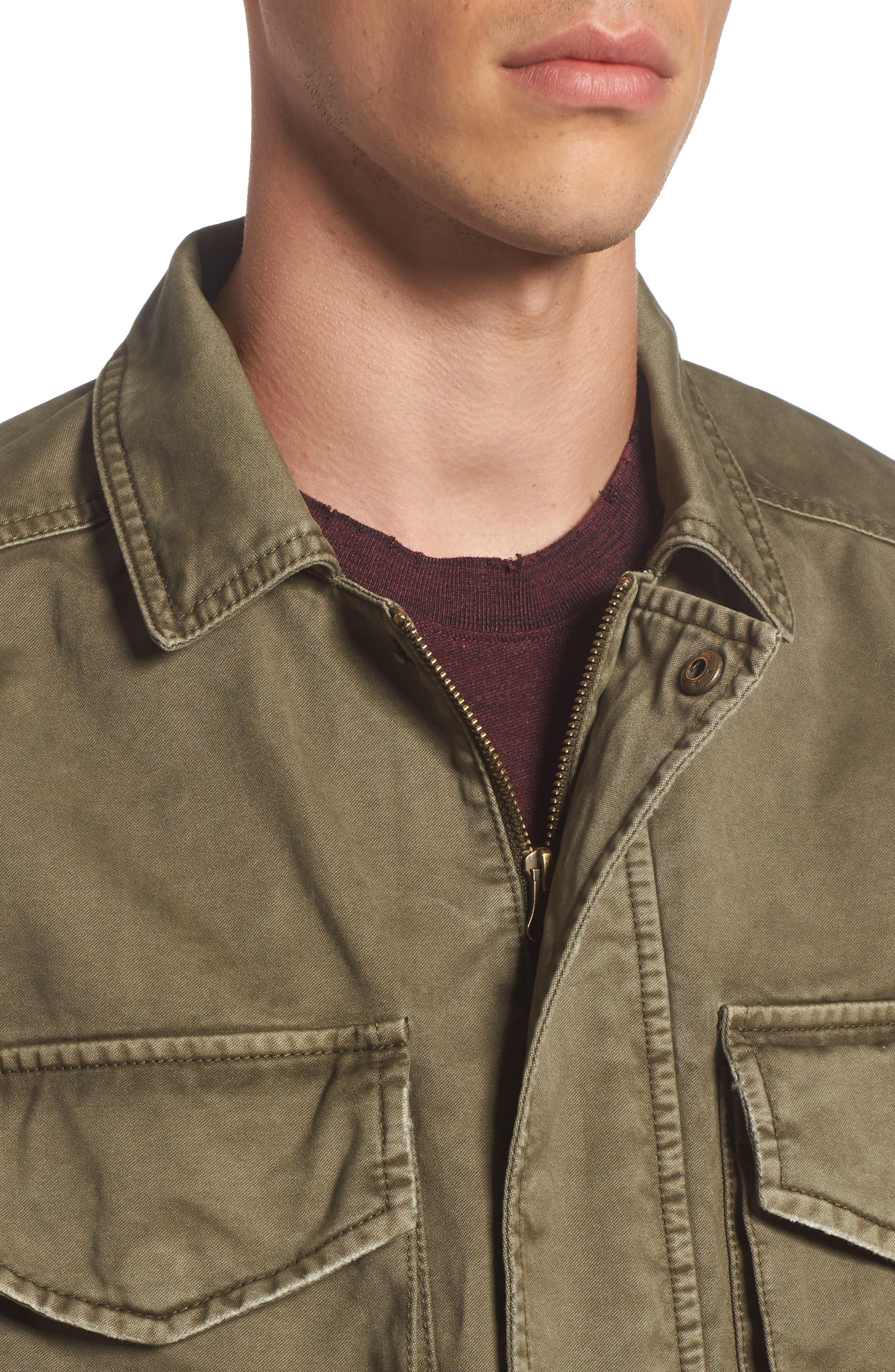 Waxed Cotton Field Jacket,                             Alternate thumbnail 4, color,                             Olive Grove