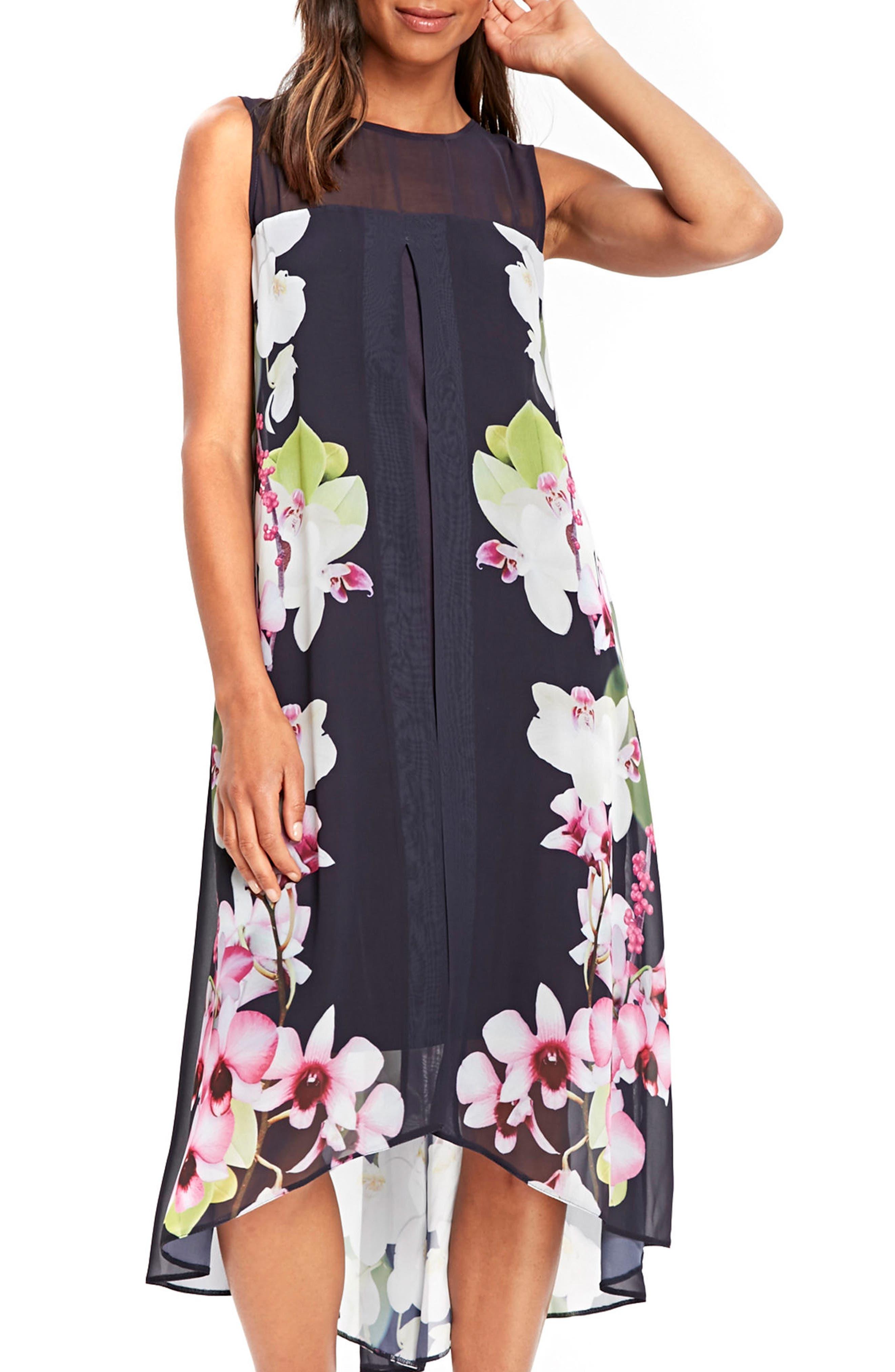 Wallis Summer Orchid Handkerchief Hem Dress