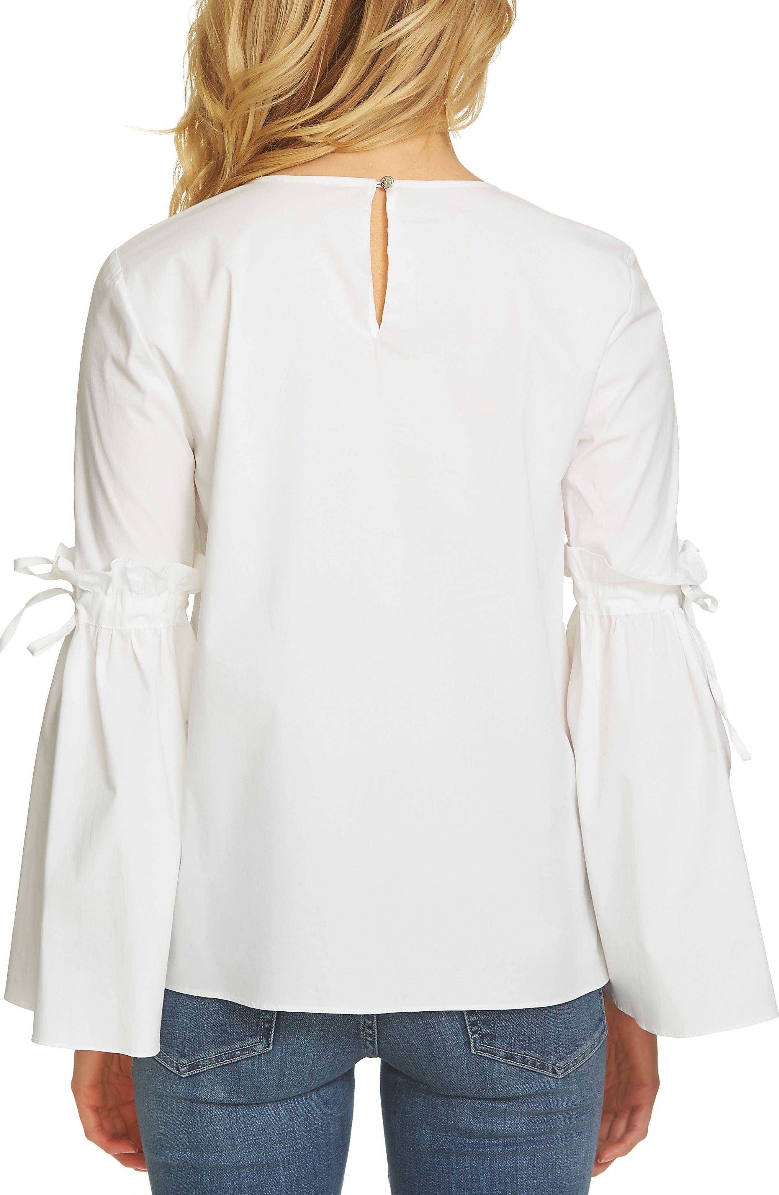 Alternate Image 2  - CeCe Tie Bell Sleeve Poplin Blouse