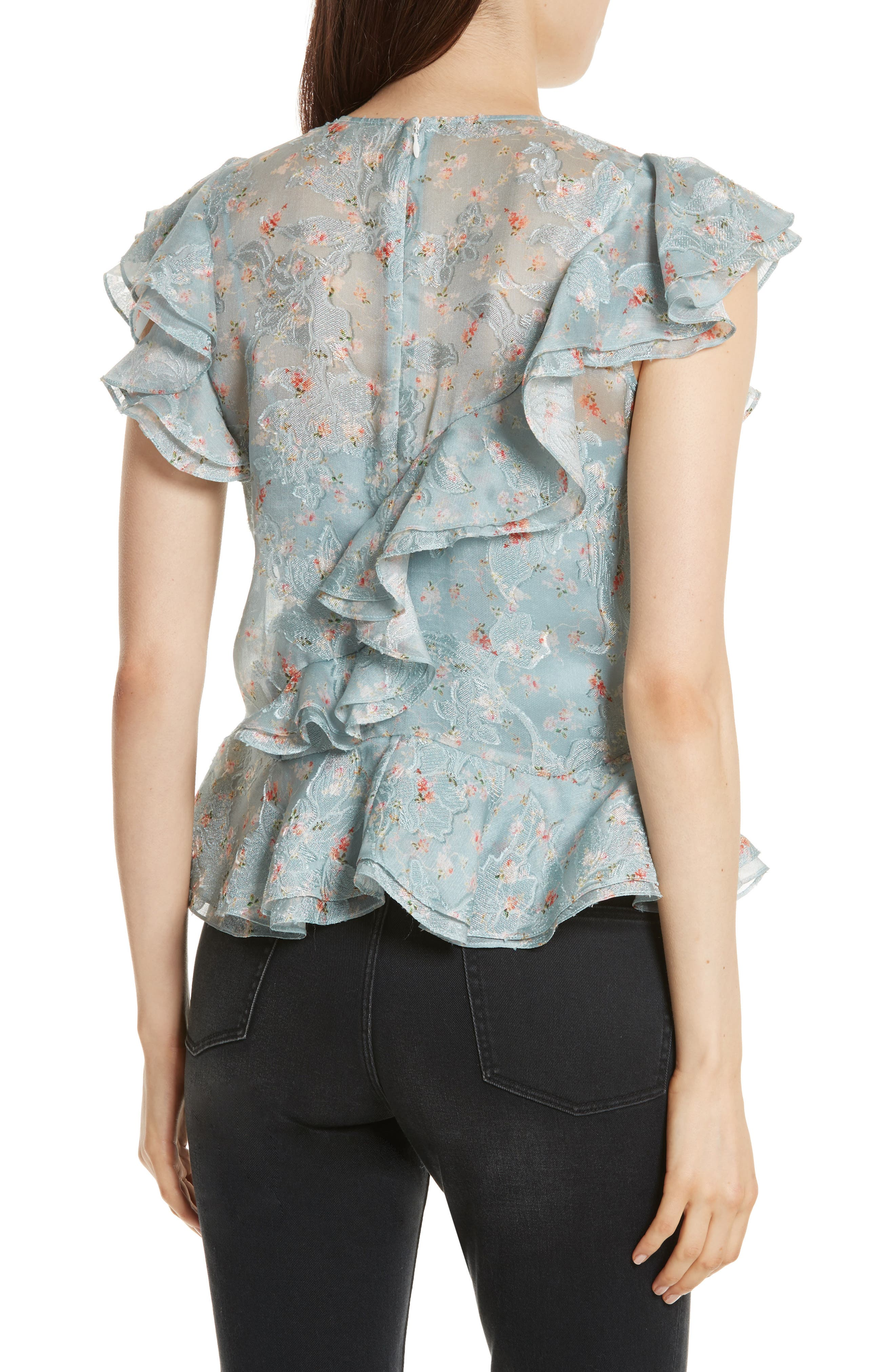 Serra Organza Top,                             Alternate thumbnail 2, color,                             Mint Combo