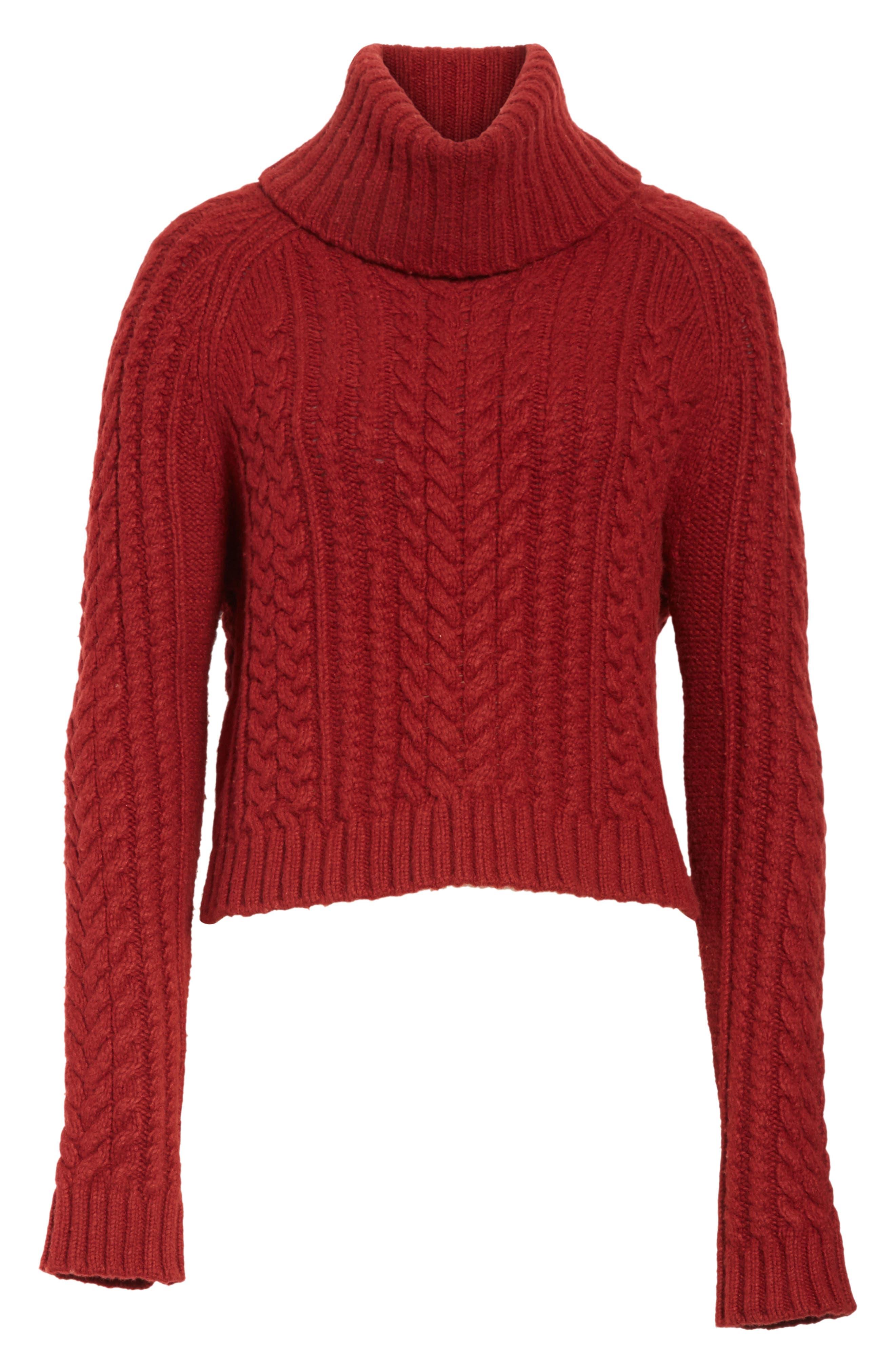 Tobin Cable Knit Crop Turtleneck Sweater,                             Alternate thumbnail 6, color,                             Bordeaux