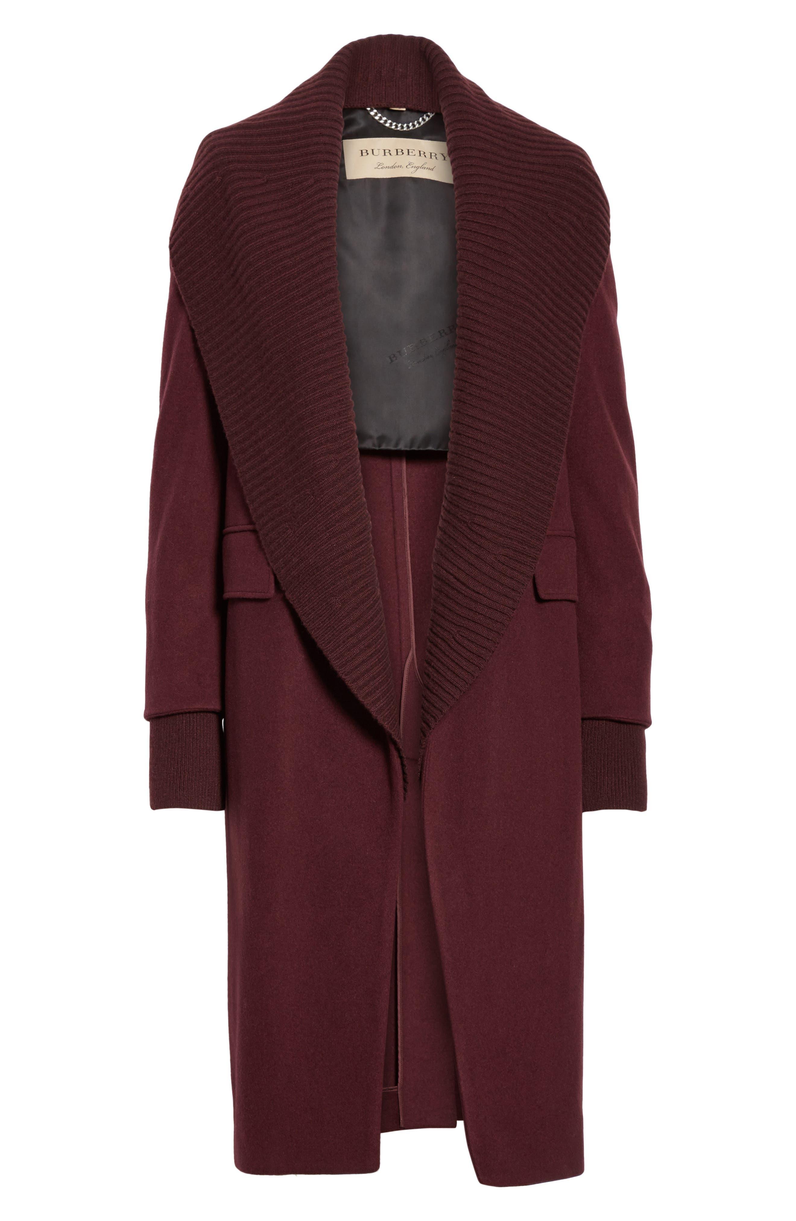 Cairndale Knit Trim Cashmere Coat,                             Alternate thumbnail 8, color,                             Black Currant