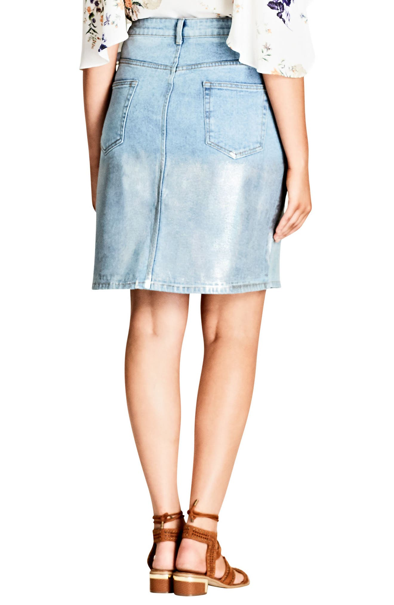 Alternate Image 2  - City Chic Mirror Denim Skirt (Plus Size)