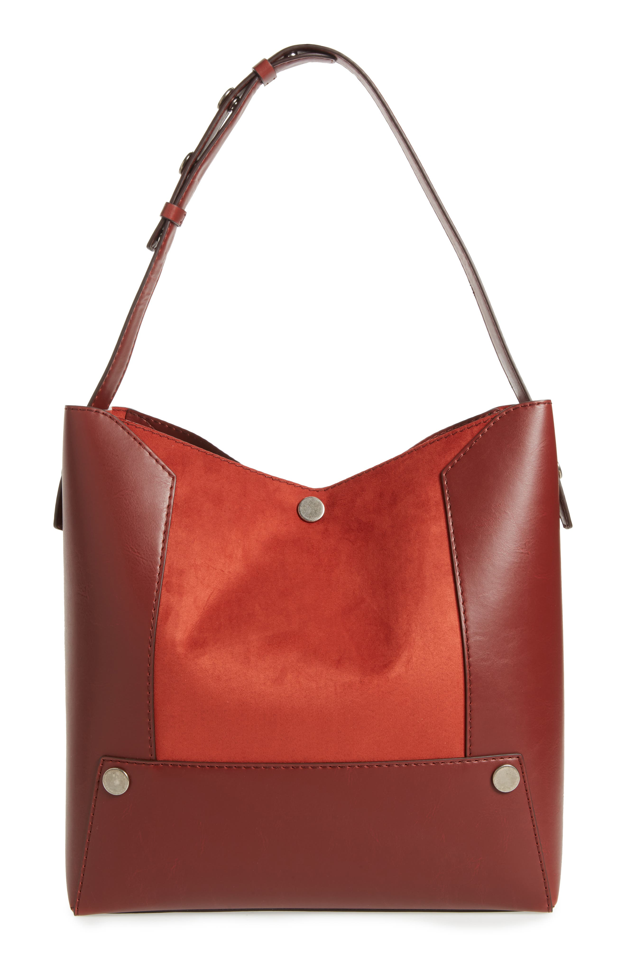 Small Faux Leather Bucket Bag,                             Alternate thumbnail 2, color,                             Henna
