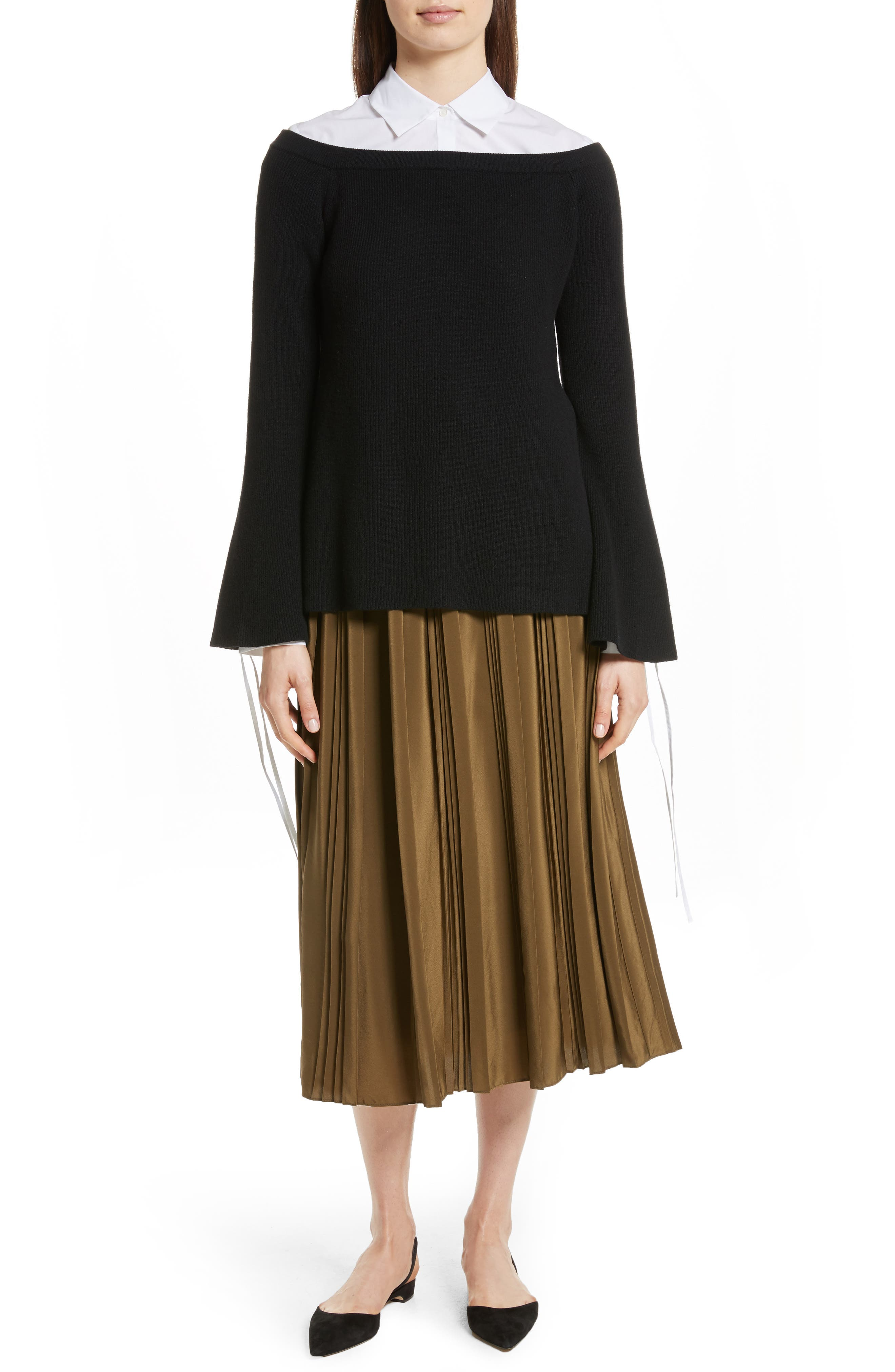 Off the Shoulder Wool & Cashmere Sweater,                             Alternate thumbnail 2, color,                             Black