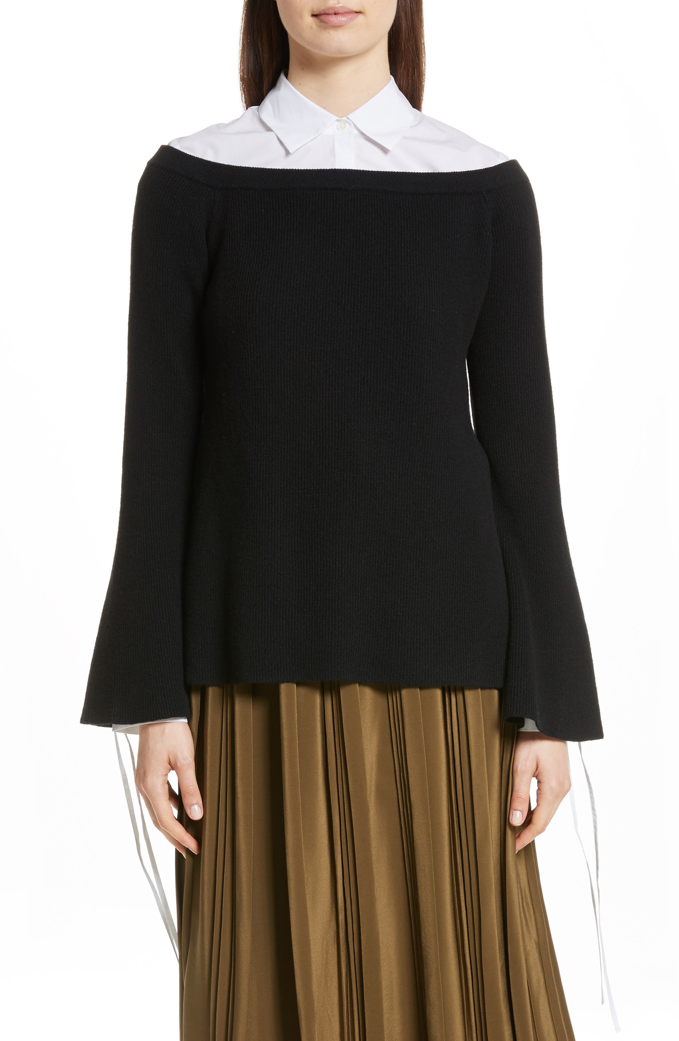 Off the Shoulder Wool & Cashmere Sweater,                             Main thumbnail 1, color,                             Black