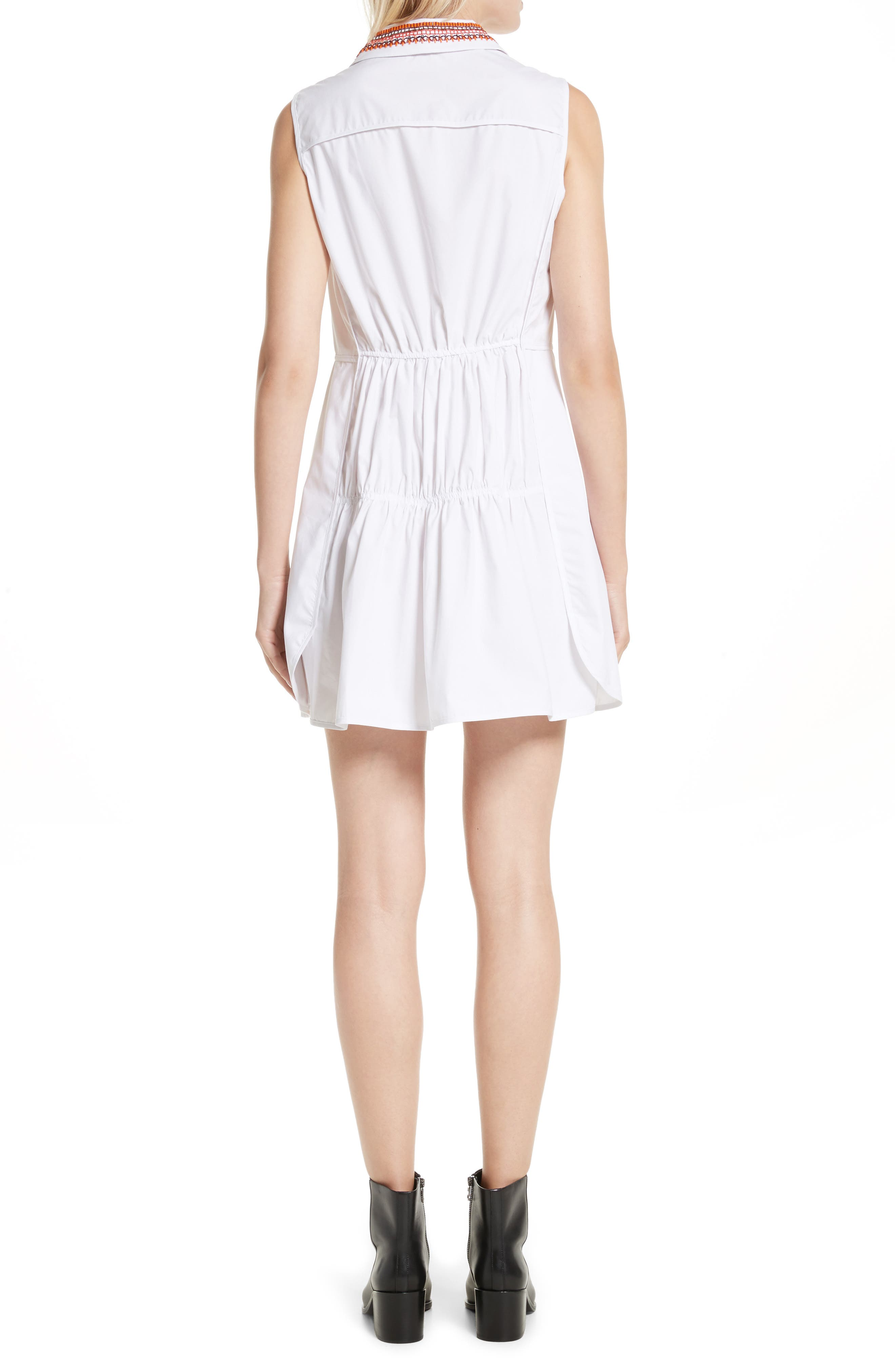 Transformer Poplin Dress with Detachable Embroidered Collar,                             Alternate thumbnail 2, color,                             White