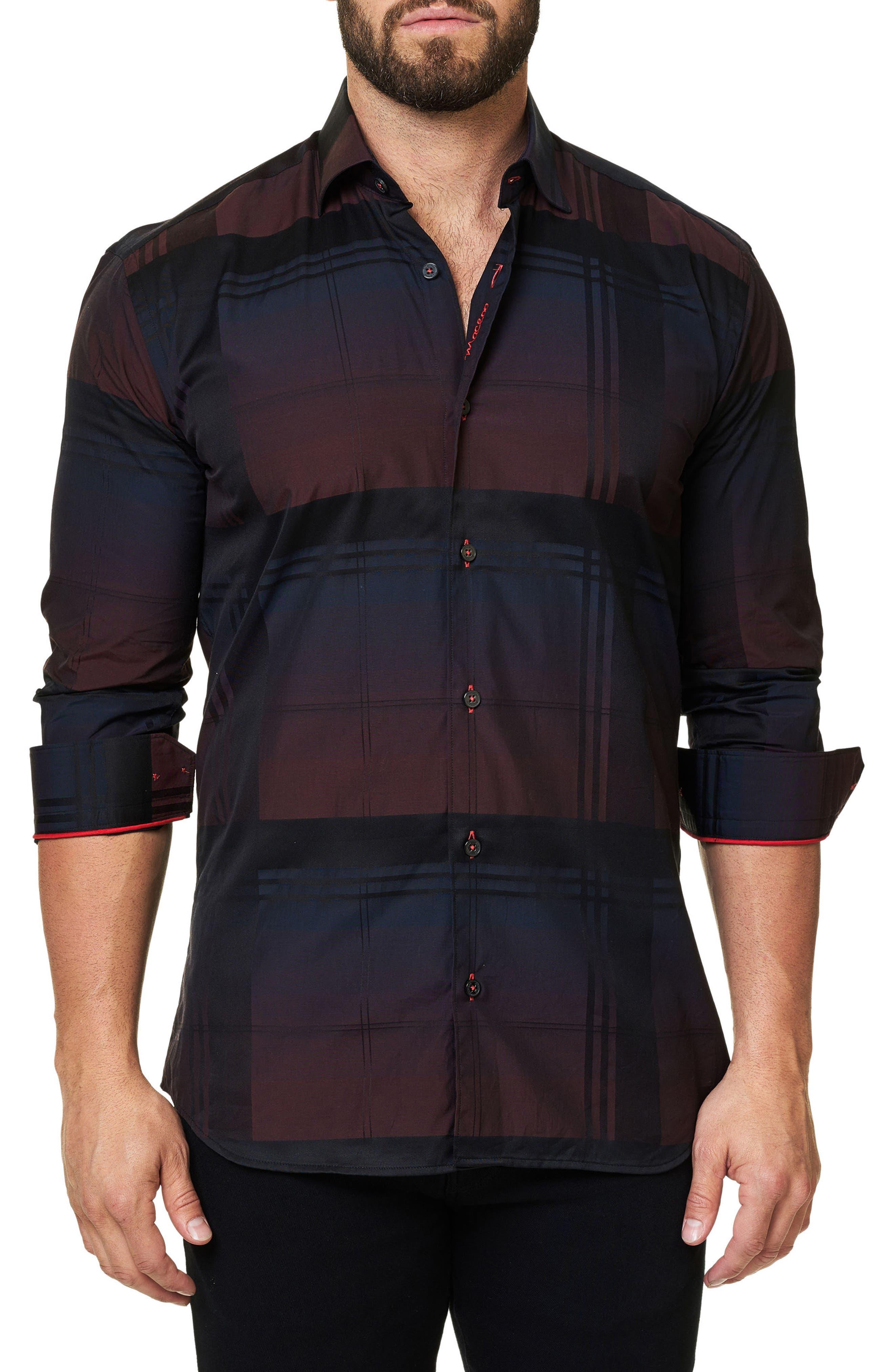 Trim Fit Plaid Sport Shirt,                             Main thumbnail 1, color,                             Black