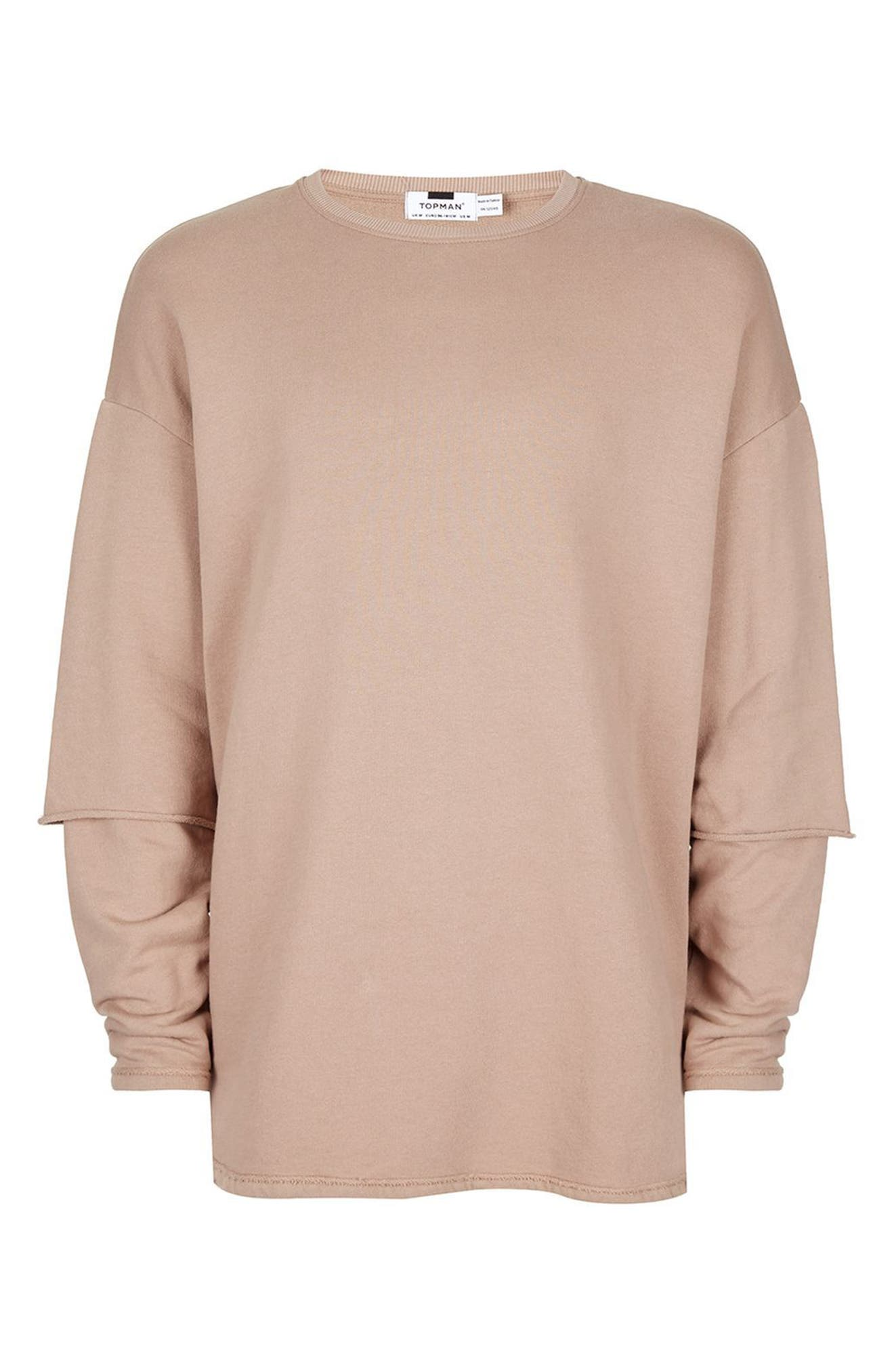 Alternate Image 4  - Topman Layer Sleeve Sweatshirt