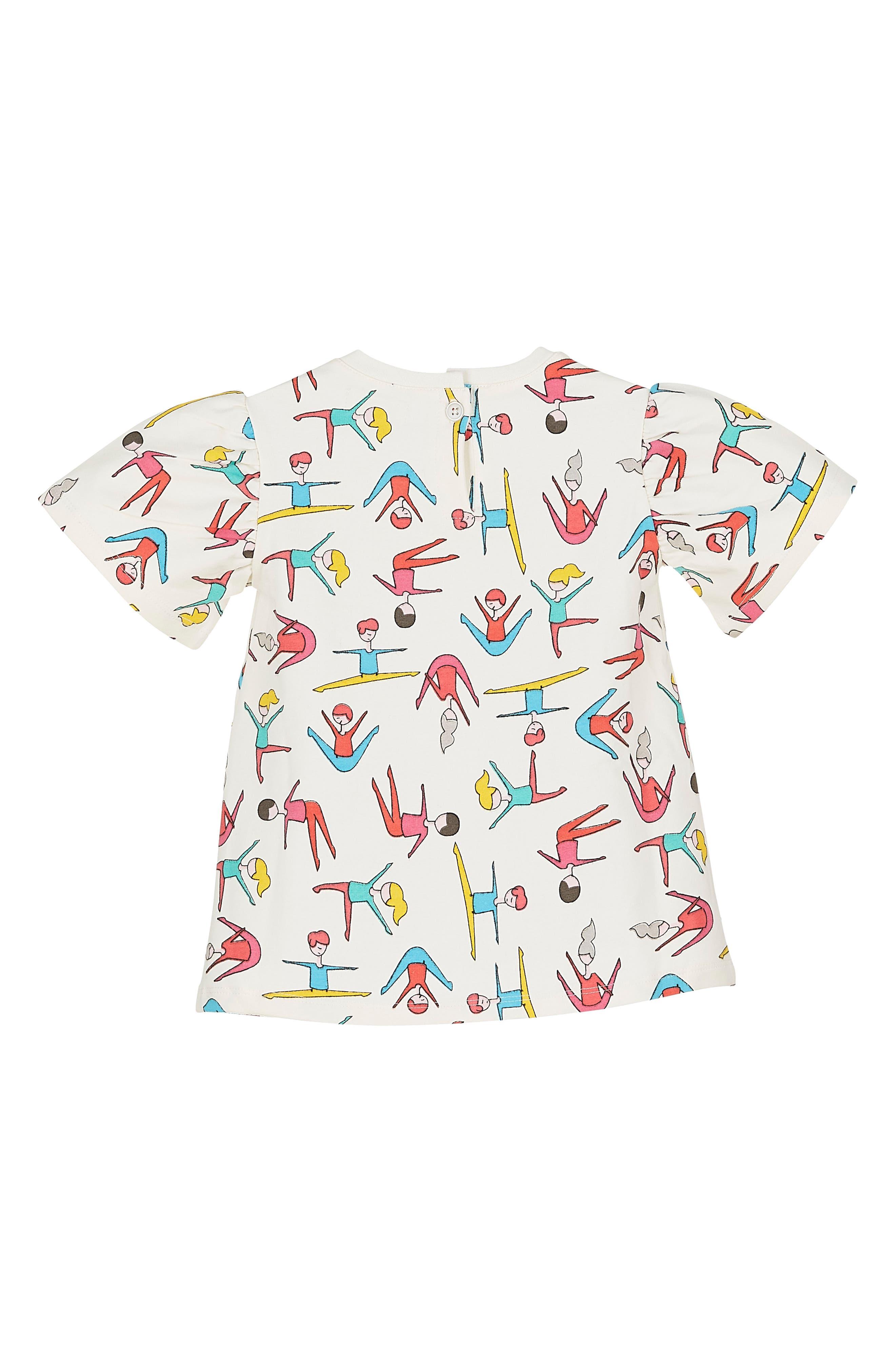 Alternate Image 2  - Margherita Stretching Print Frill Sleeve Top (Toddler Girls & Little Girls)