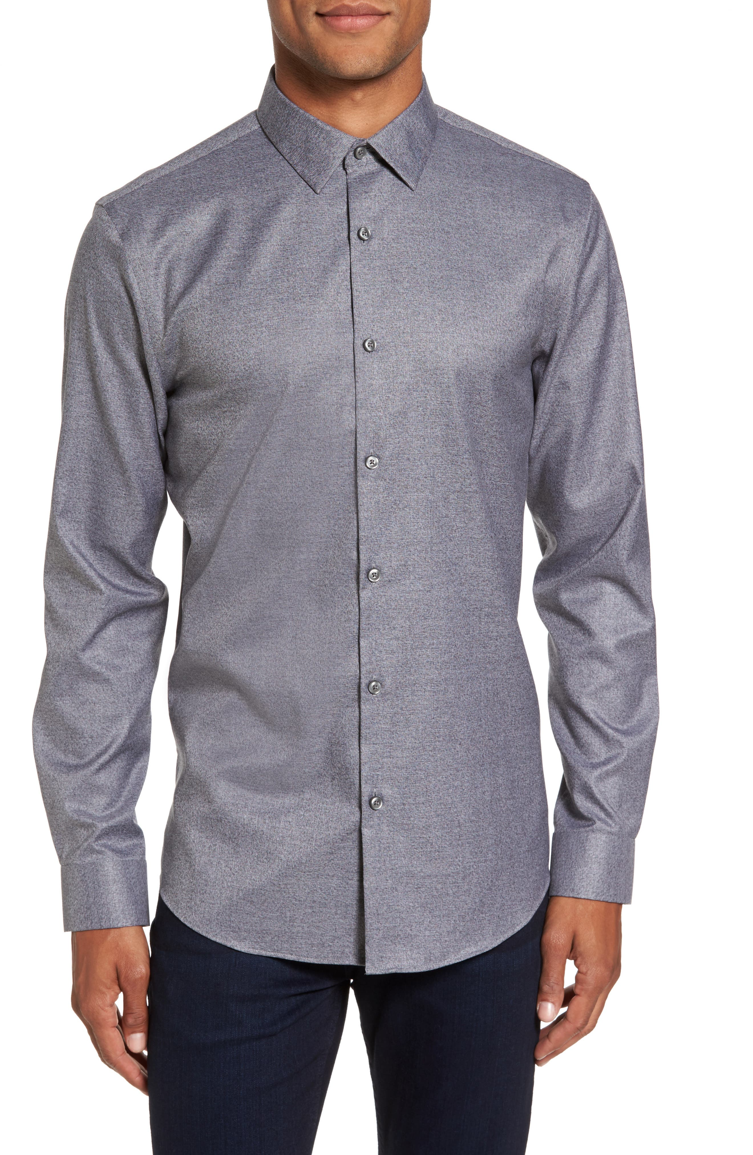 Slim Fit Non-Iron Jaspe Sport Shirt,                         Main,                         color, Grey Magnet Black Jaspe