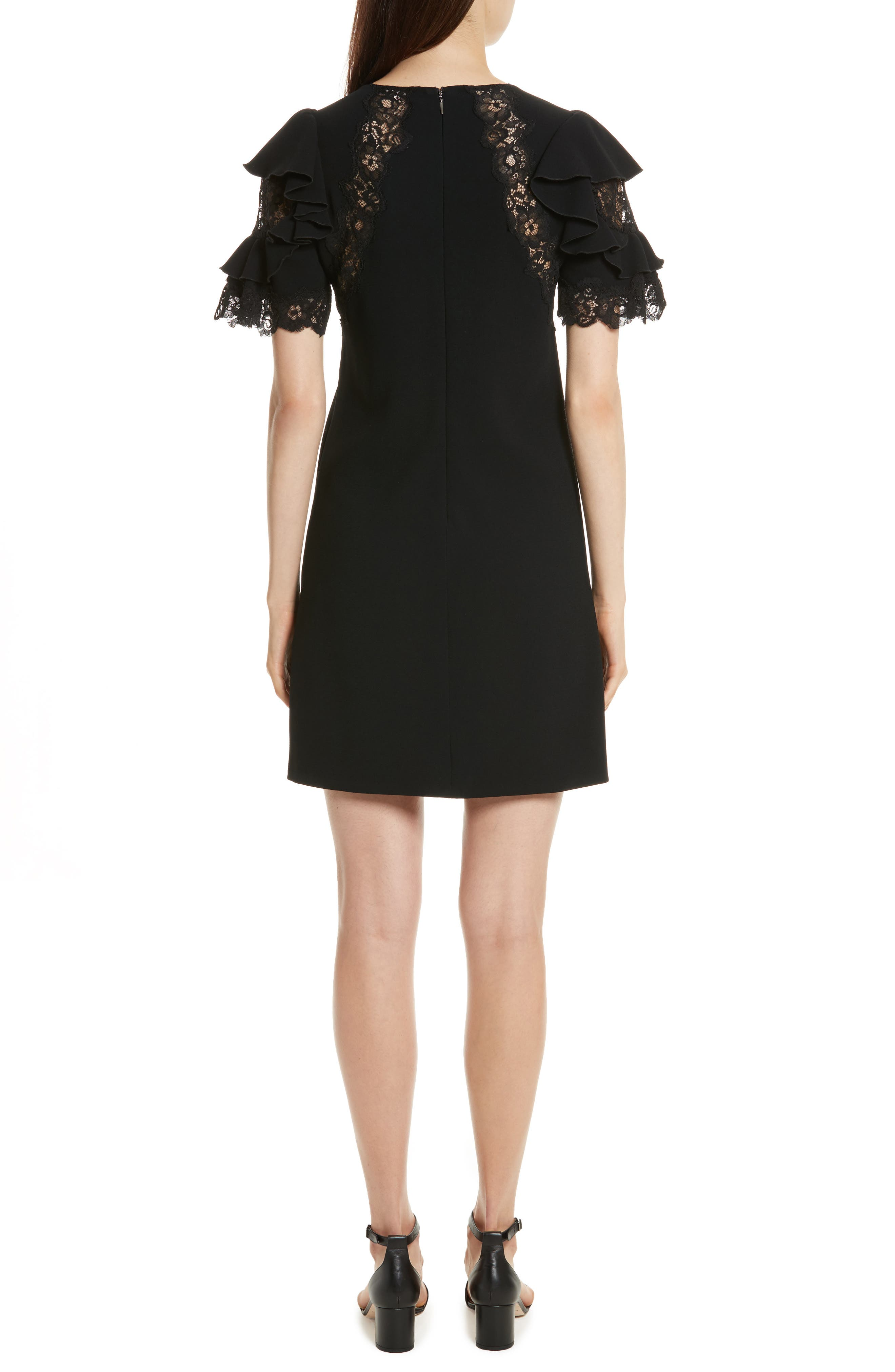 Ruffle Sleeve Lace Sheath Dress,                             Alternate thumbnail 2, color,                             Black