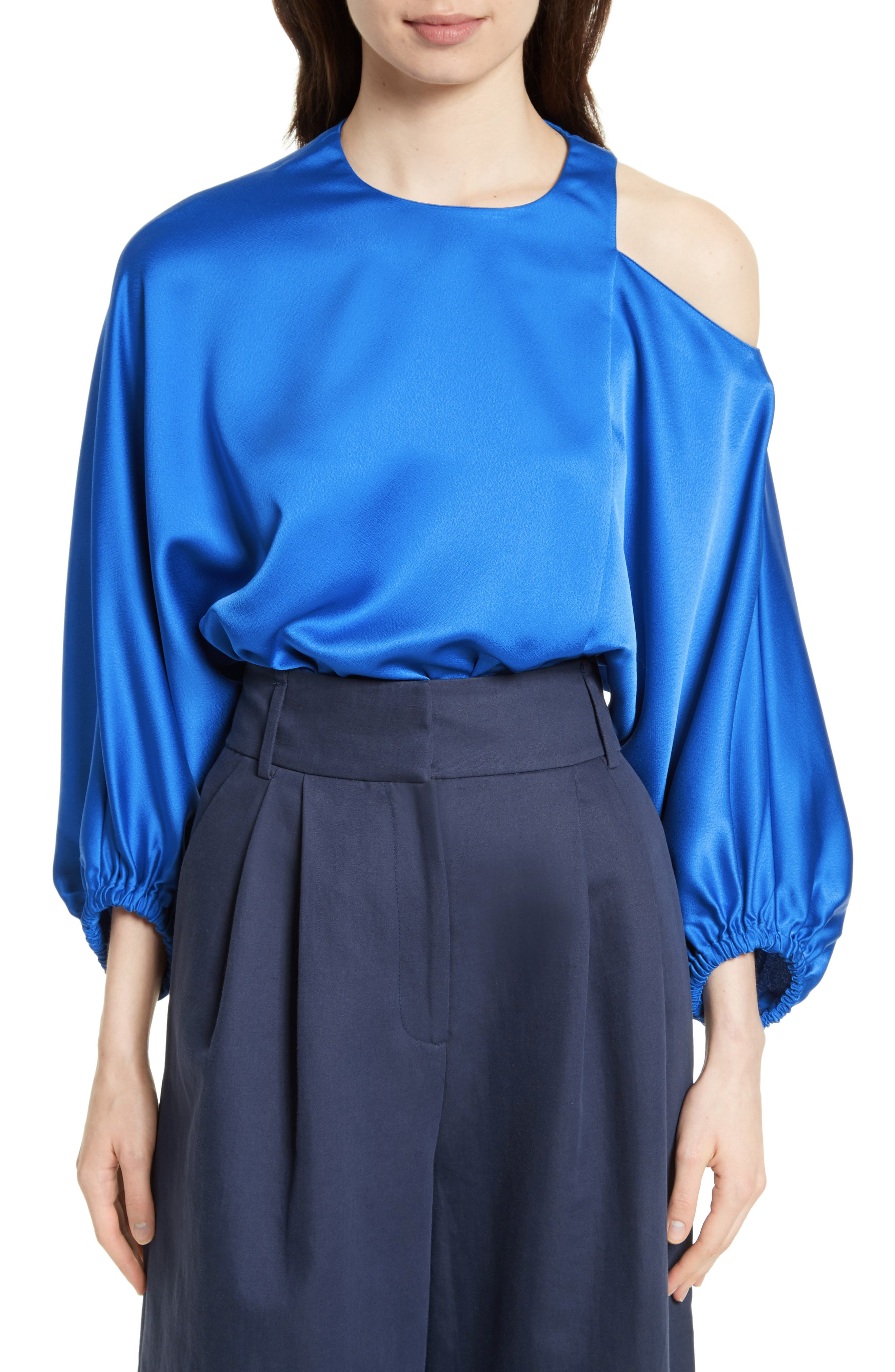 Tibi Woman Celestia Cutout Satin Top Bright Blue Size XS Tibi Shop Offer For Sale Clearance Inexpensive New Styles 62JwJyYp
