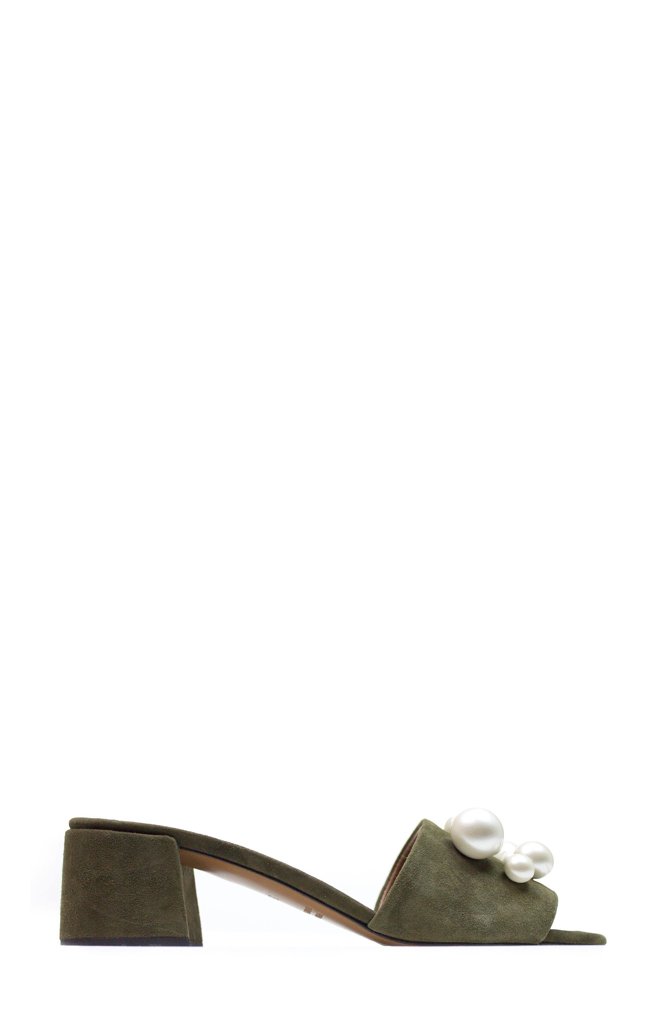 Ariella Beaded Slide Mule,                             Alternate thumbnail 3, color,                             Olive Suede