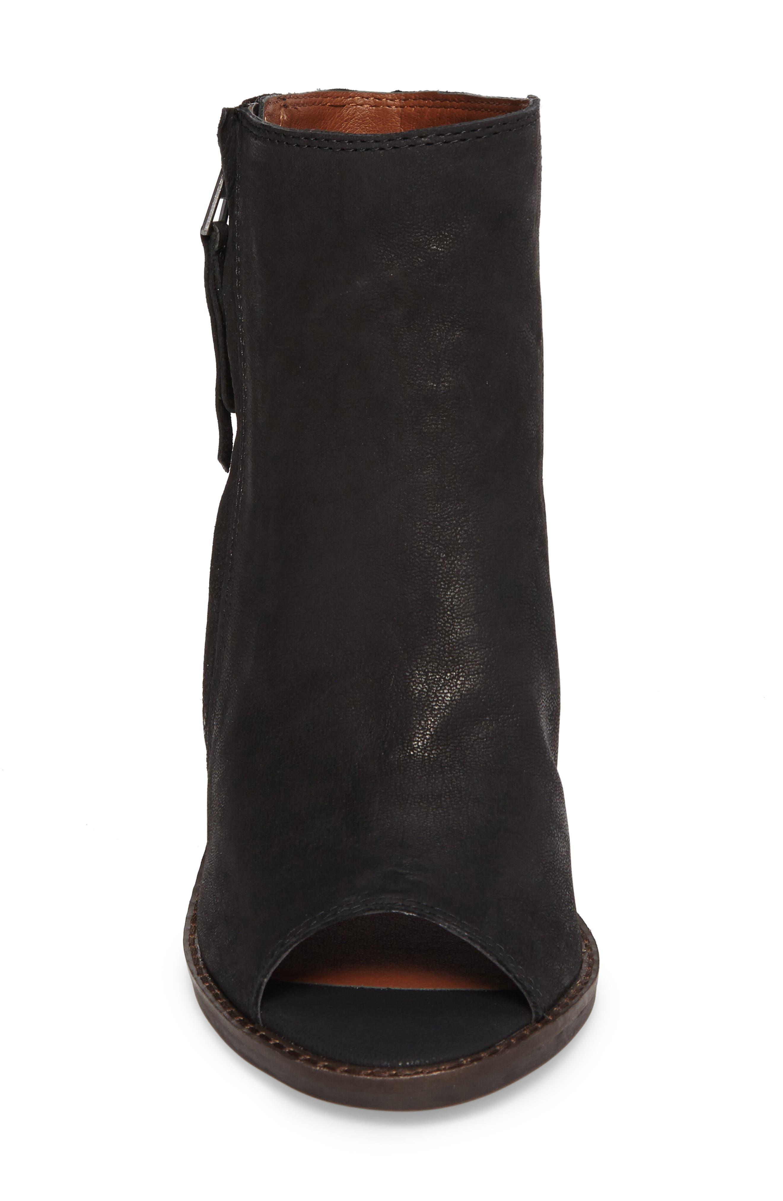 Terrie Peep Toe Bootie,                             Alternate thumbnail 5, color,                             Black Leather