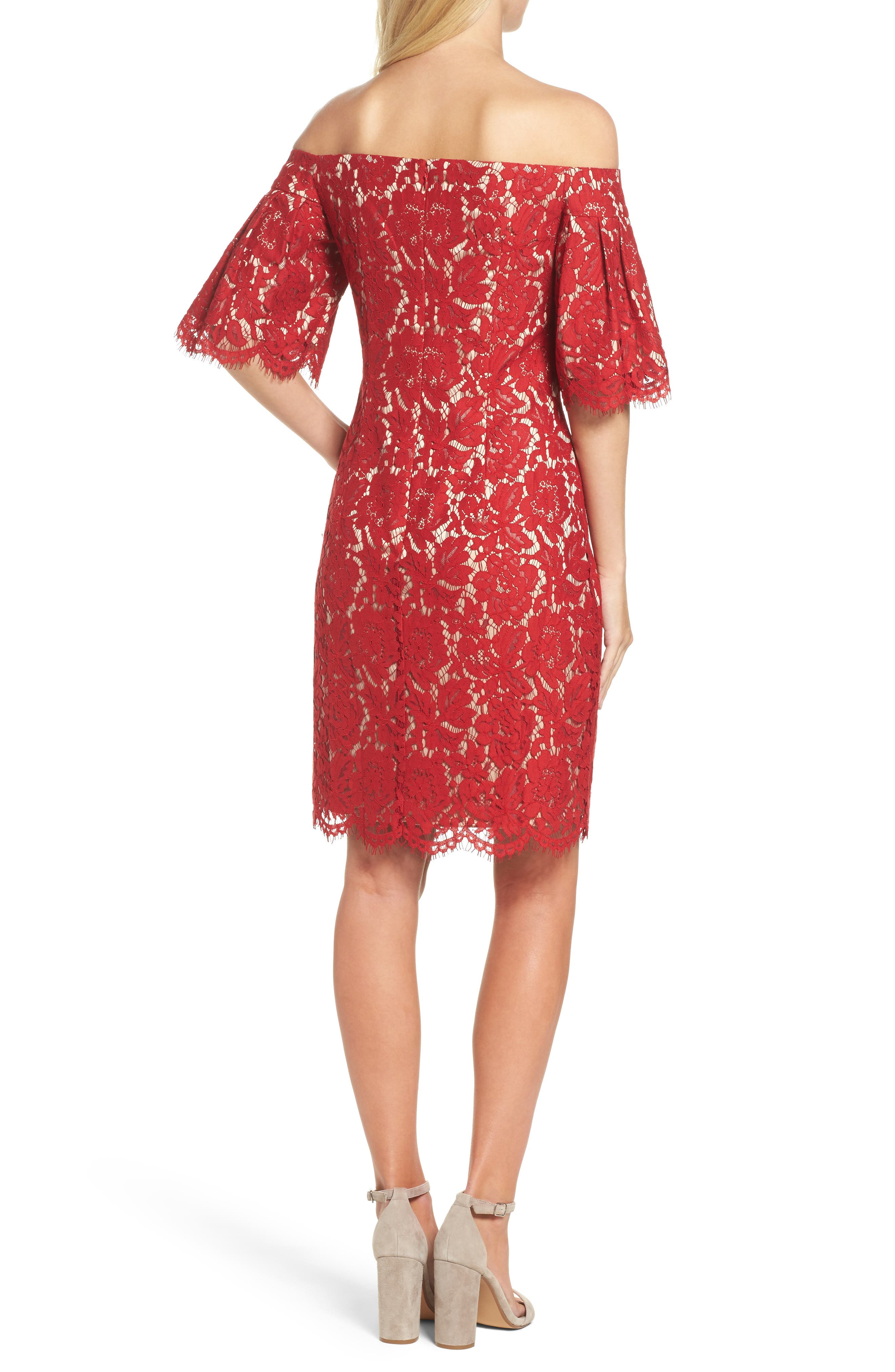 Flounce Sleeve Off the Shoulder Lace Sheath Dress,                             Alternate thumbnail 2, color,                             Red