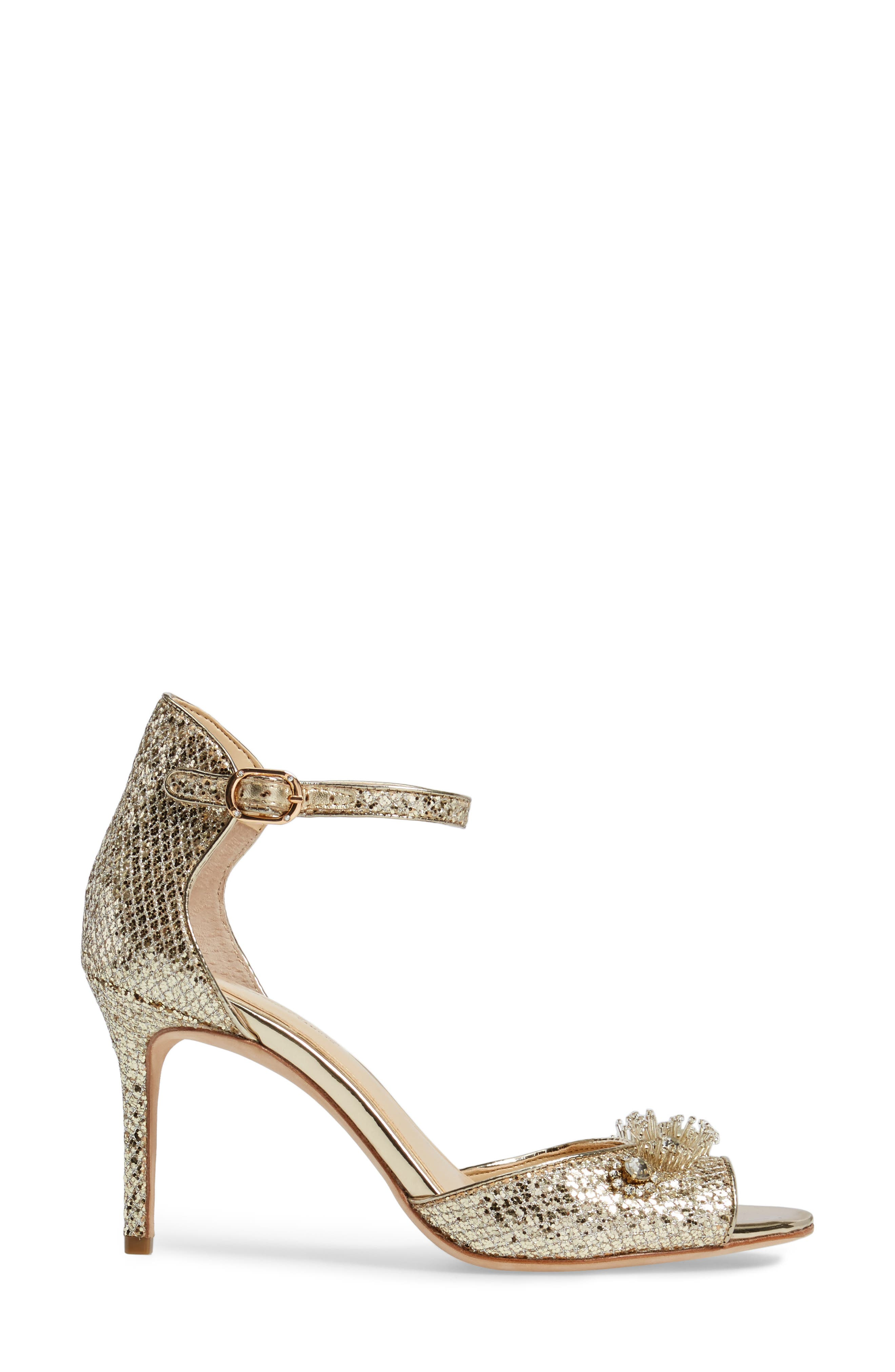 Prisca Embellished Sandal,                             Alternate thumbnail 3, color,                             Soft Gold