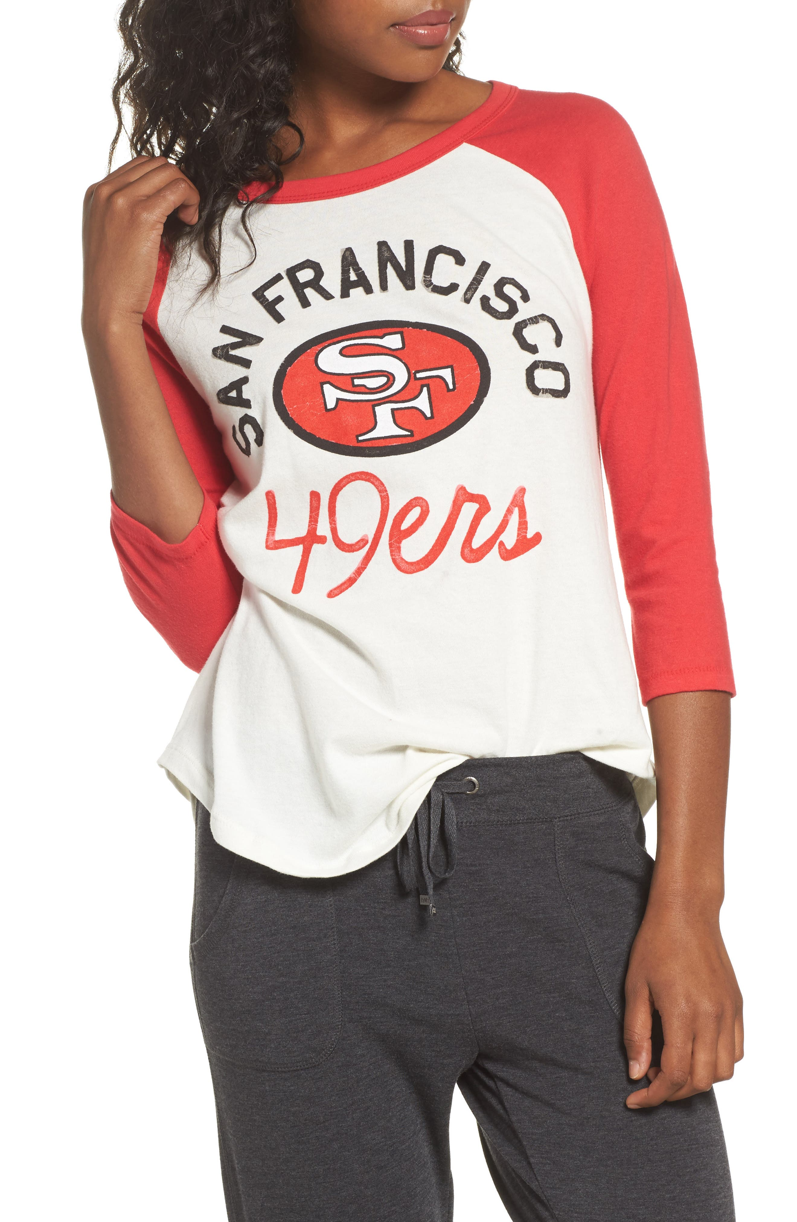 NFL San Francisco 49ers Raglan Tee,                         Main,                         color, Sugar/ Licorice