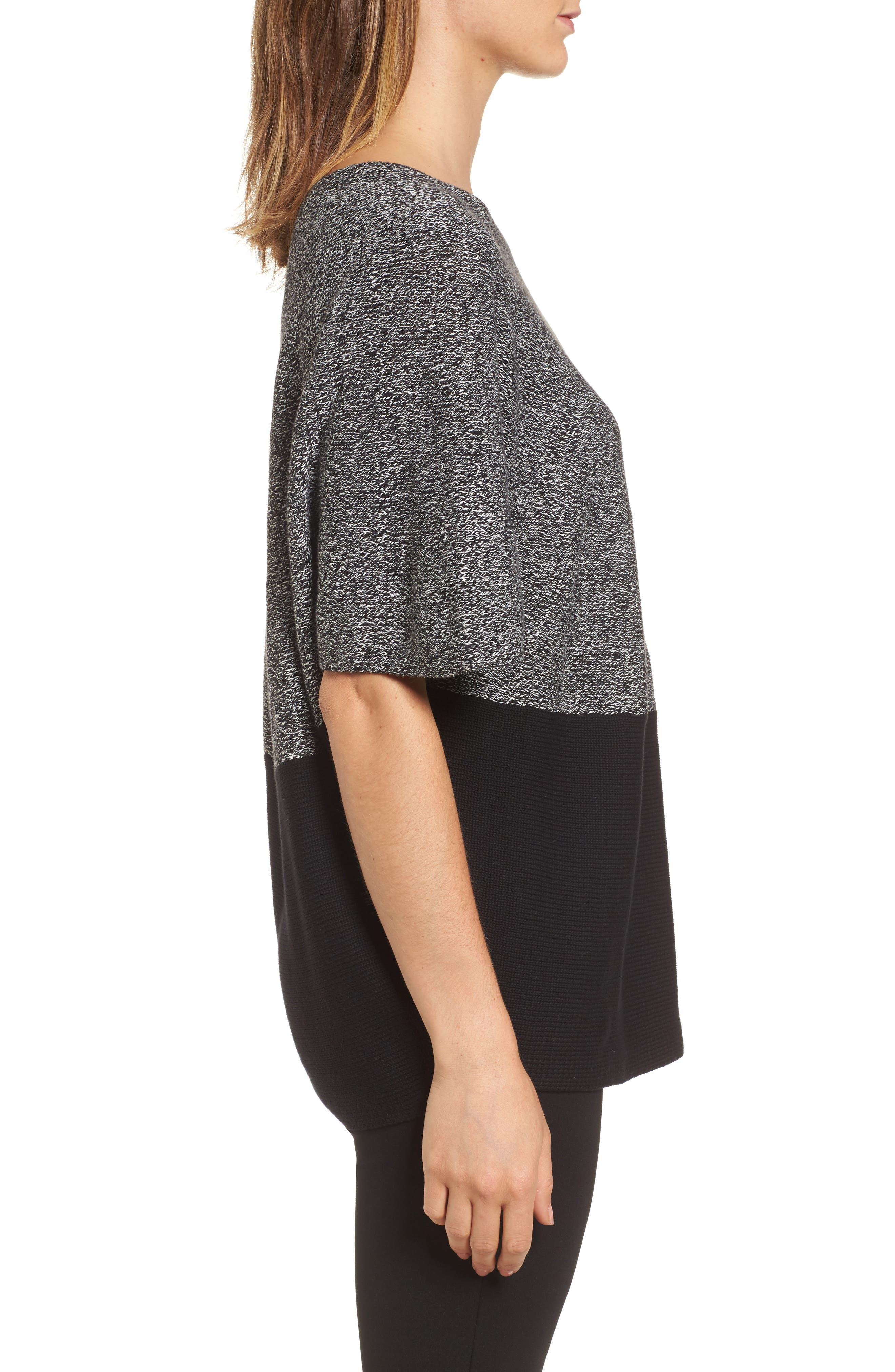 Colorblock Kimono Sleeve Sweater,                             Alternate thumbnail 3, color,                             Rich Black