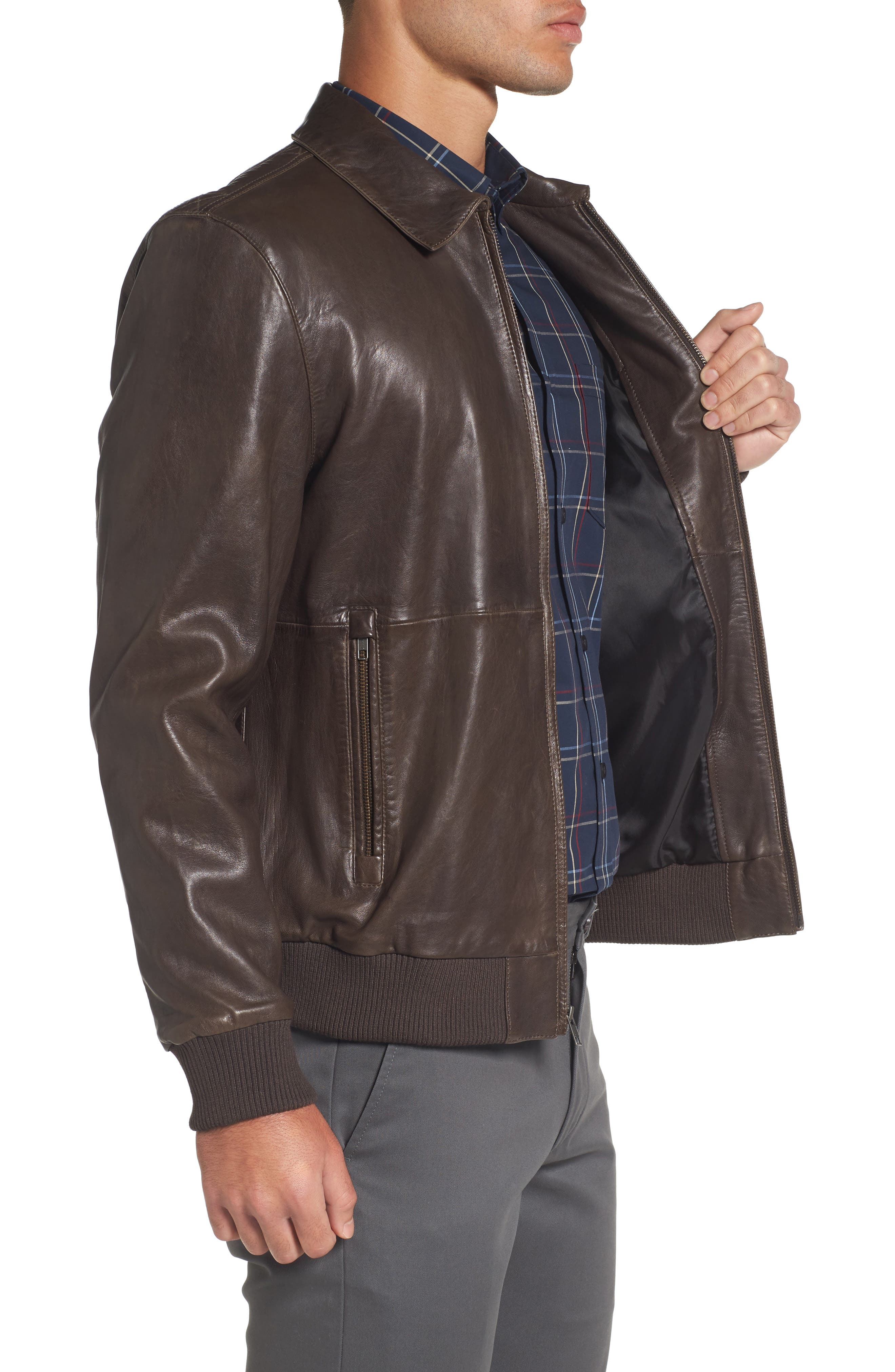 Leather Bomber Jacket,                             Alternate thumbnail 3, color,                             Brown Seal