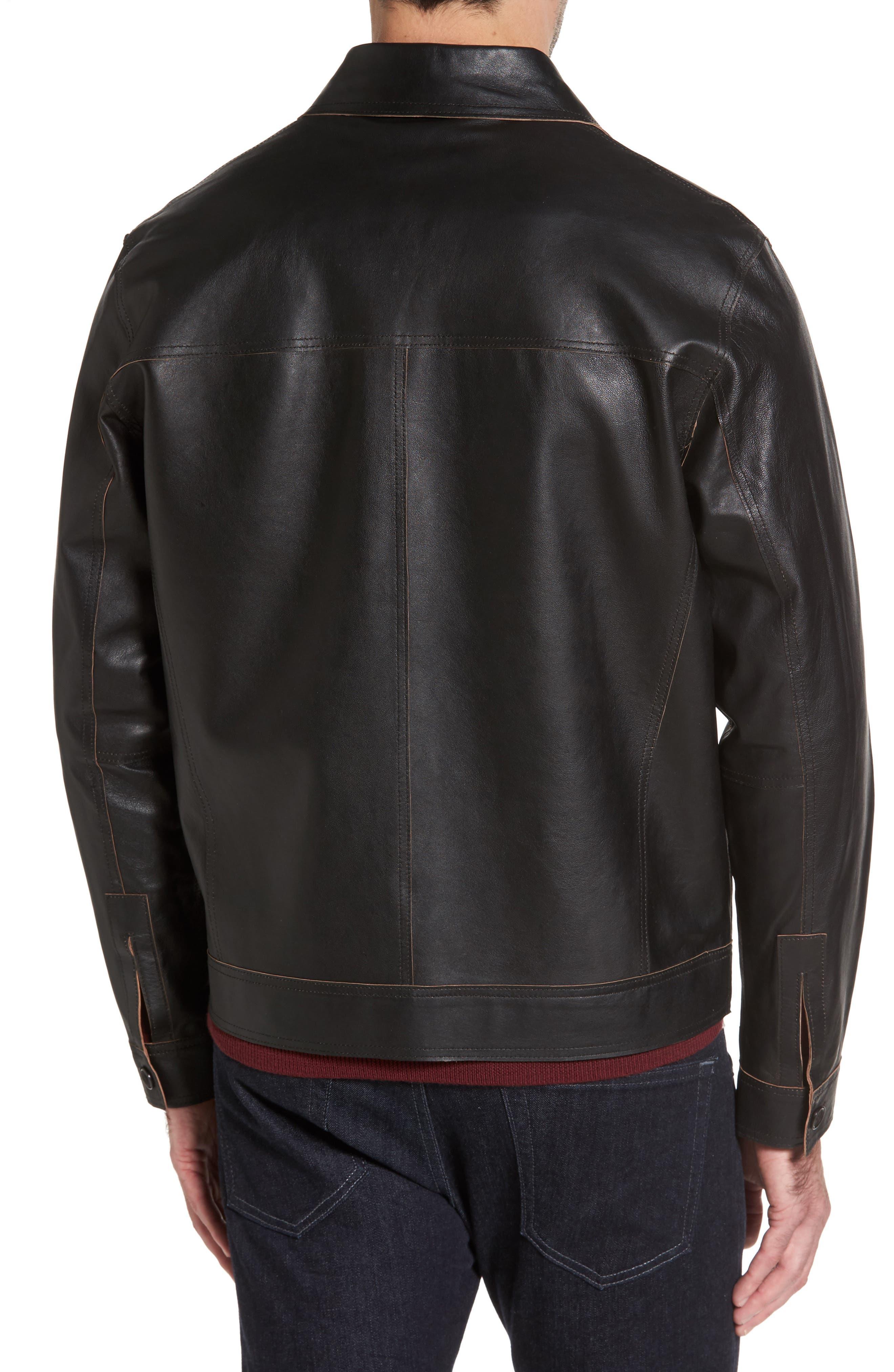Reversible Leather Jacket,                             Alternate thumbnail 2, color,                             Black