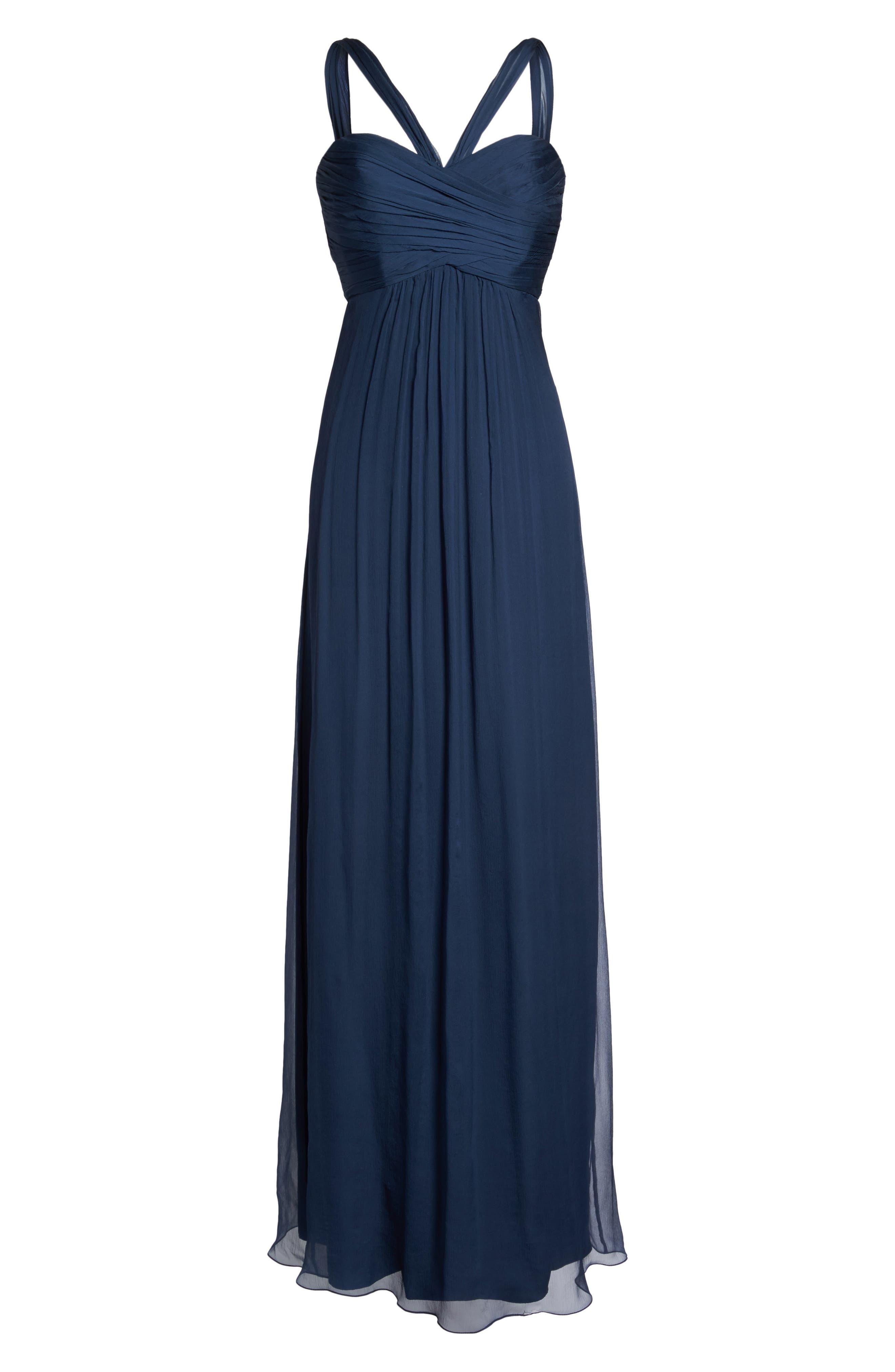 Alternate Image 6  - Amsale Corbin Crinkled Chiffon Empire Gown