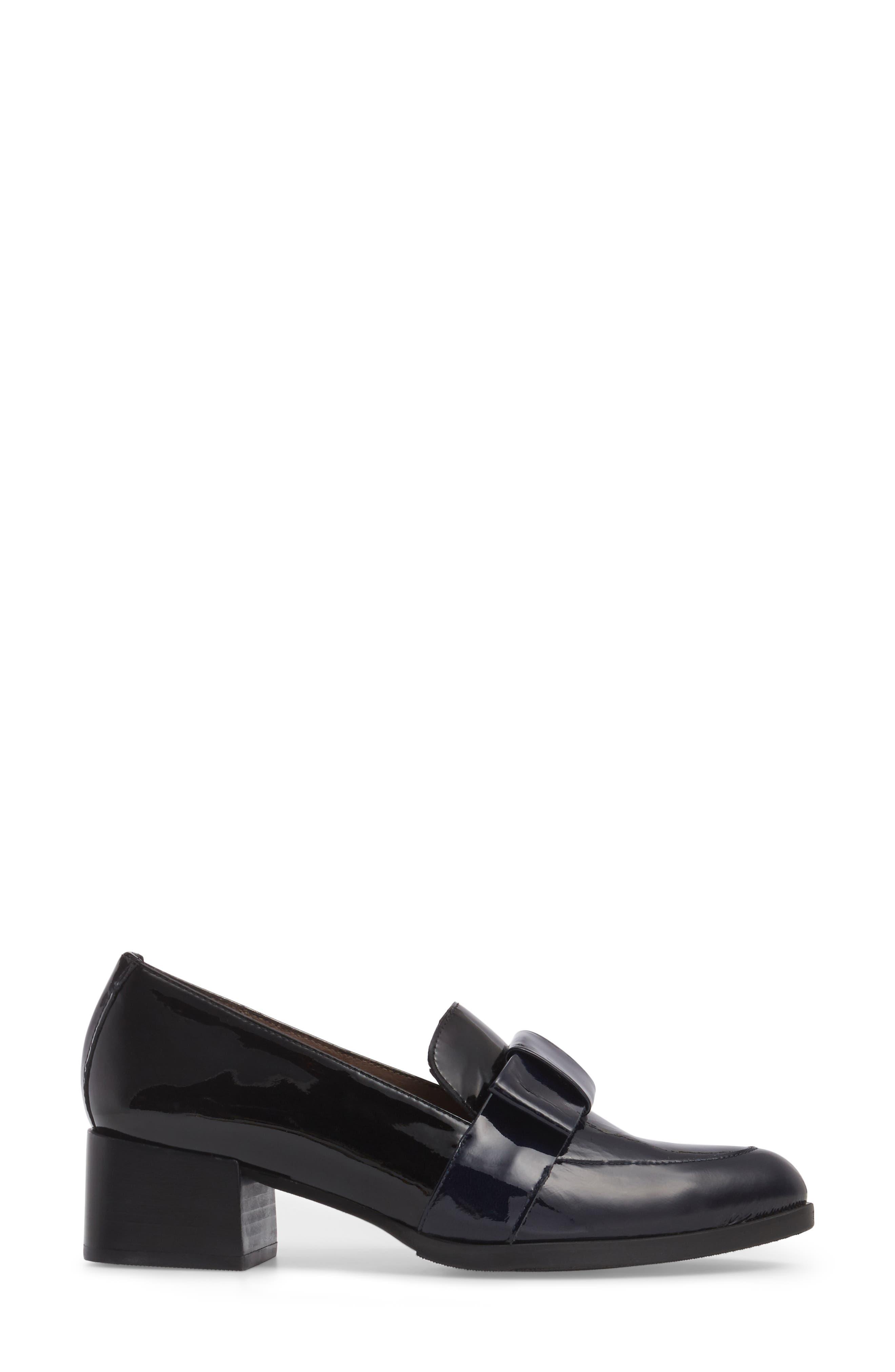 Block Heel Loafer Pump,                             Alternate thumbnail 3, color,                             Navy/ Black Patent Leather