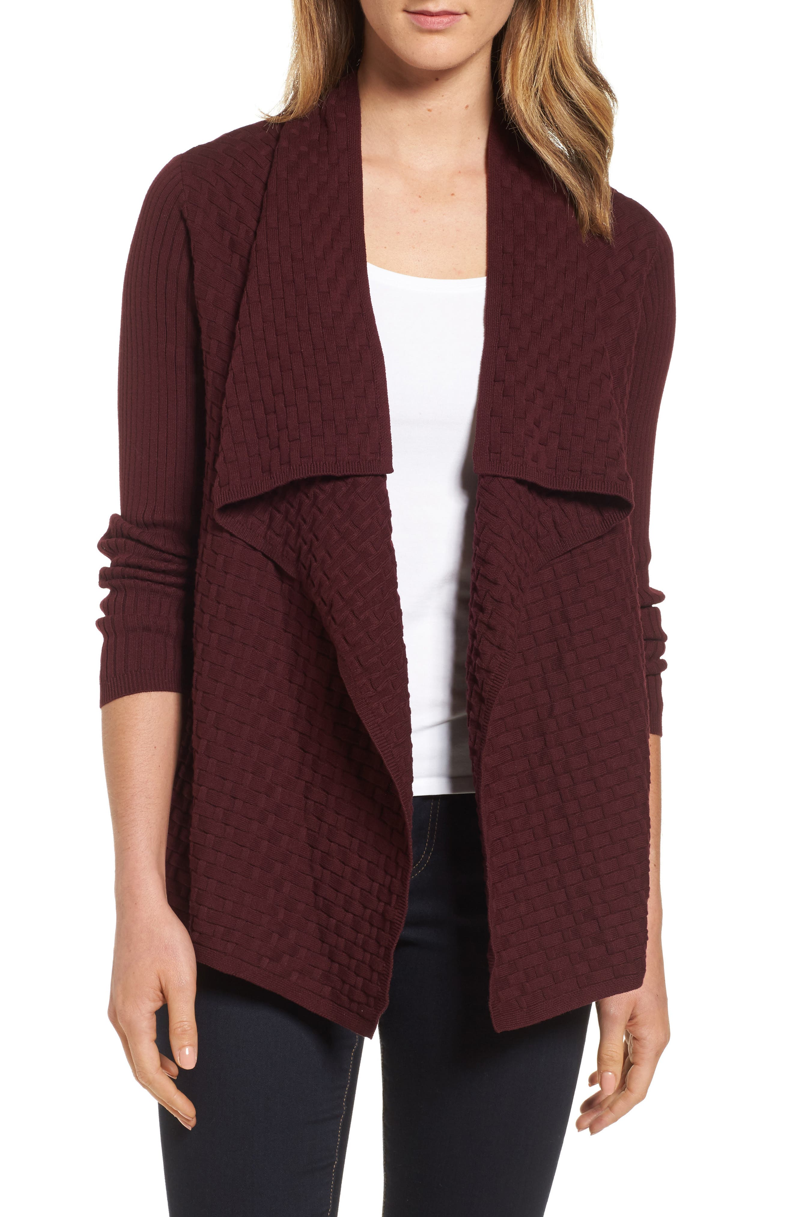 Alternate Image 1 Selected - Chaus Mixed Cotton Knit Cardigan