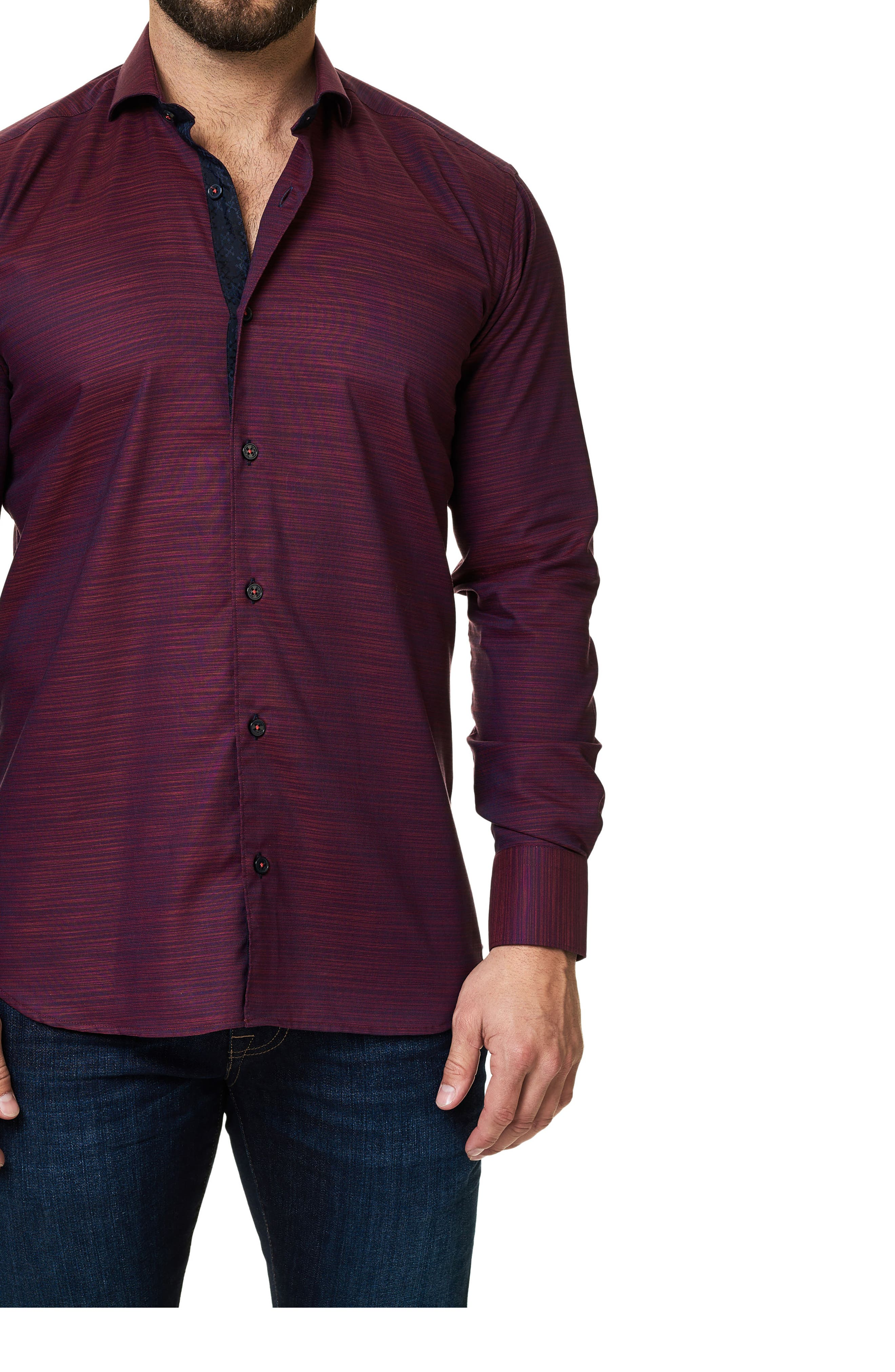 Trim Fit Print Sport Shirt,                             Alternate thumbnail 3, color,                             Red