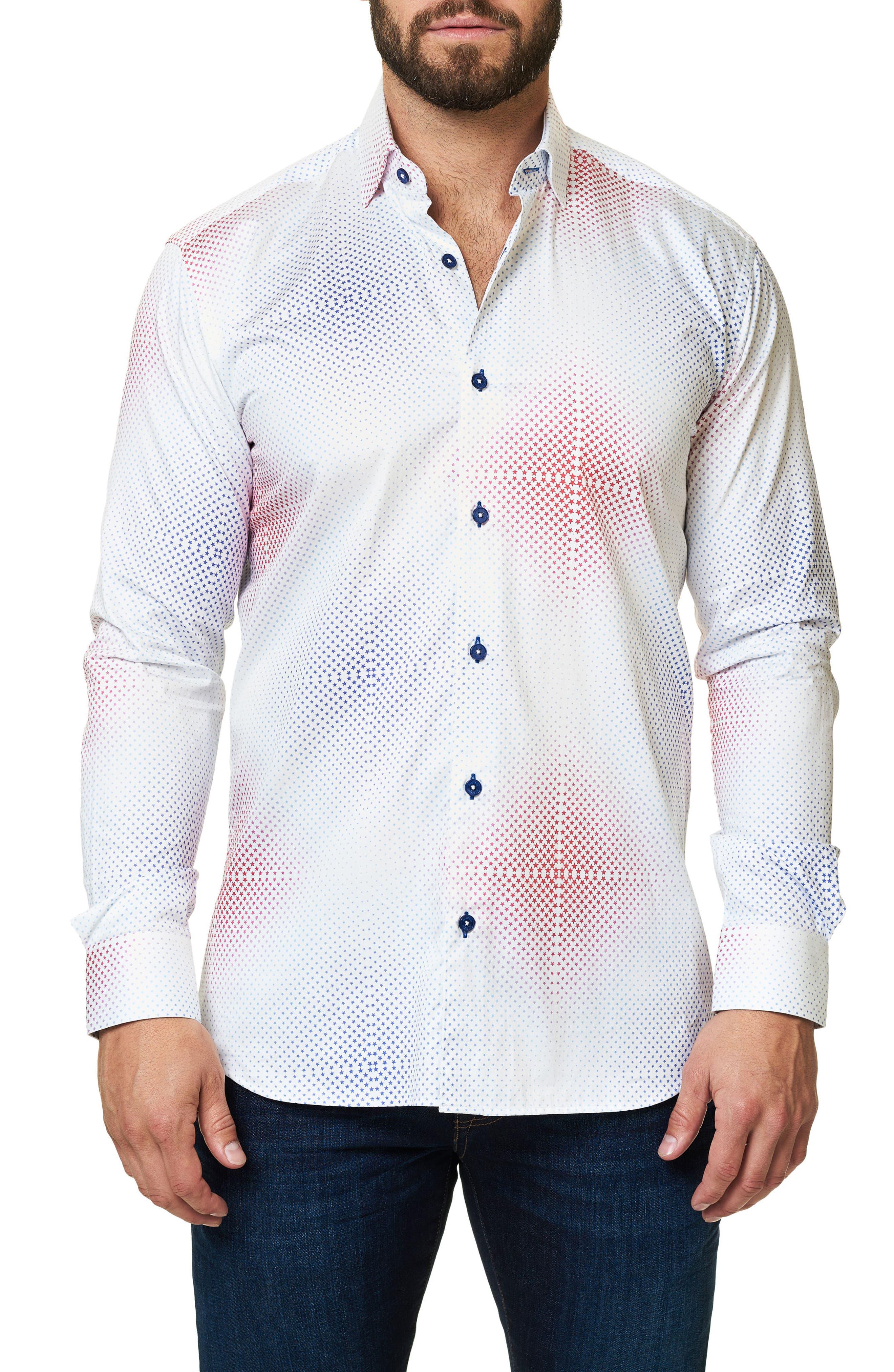 Trim Fit Ombré Star Sport Shirt,                             Alternate thumbnail 3, color,                             White