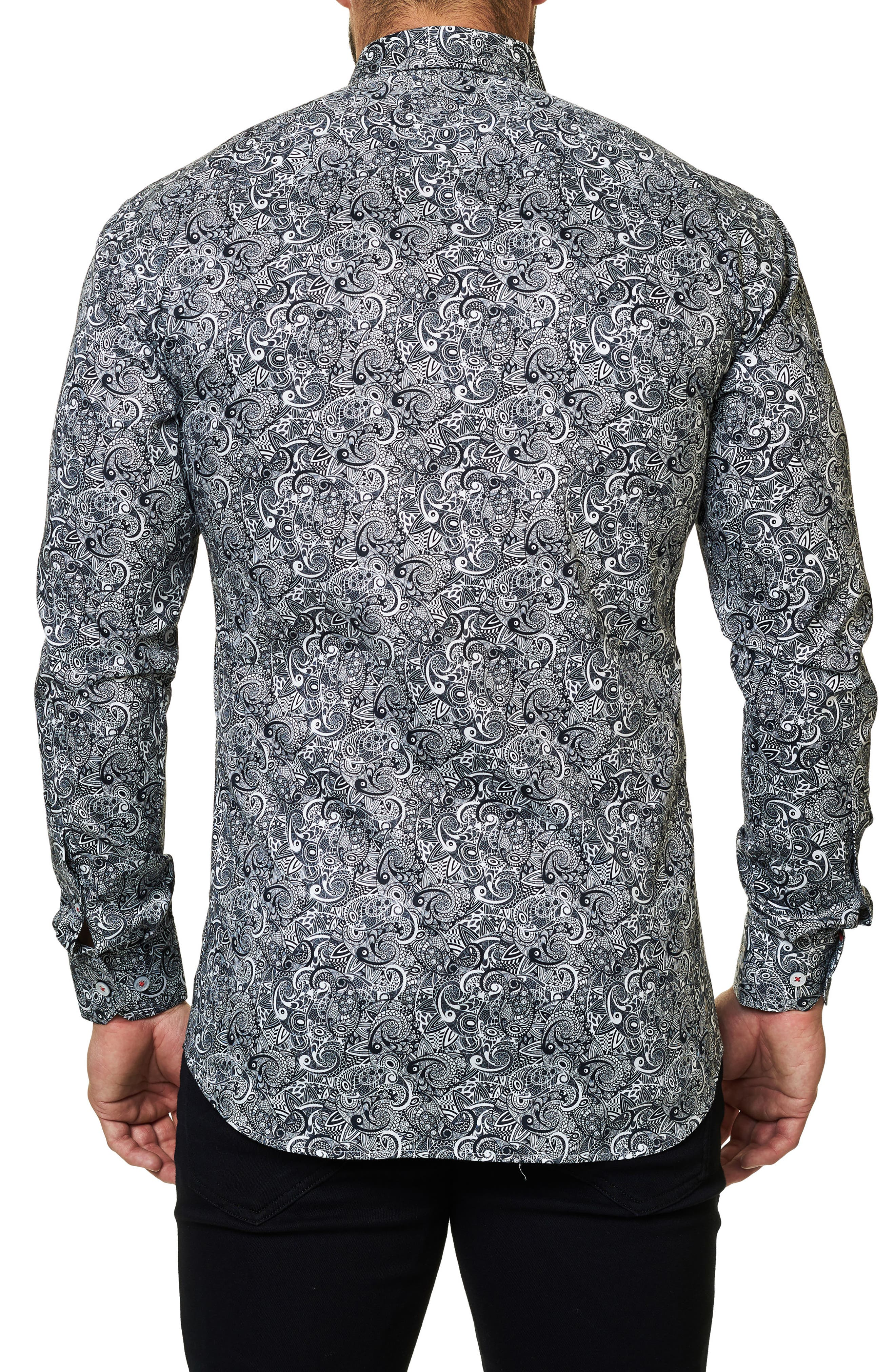 Trim Fit Paisley Print Sport Shirt,                             Alternate thumbnail 2, color,                             Black