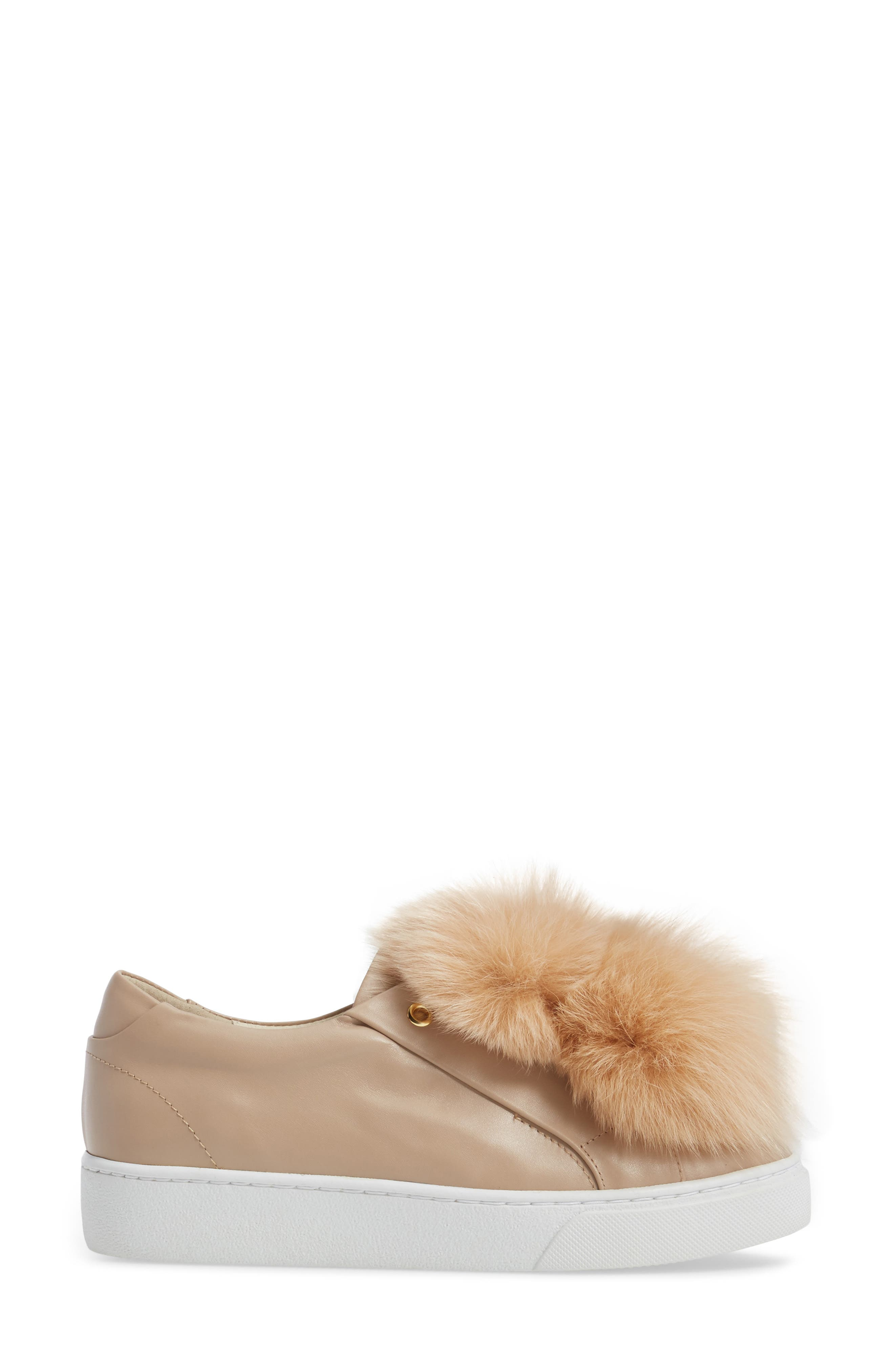 Arian Genuine Fox Fur Trim Sneaker,                             Alternate thumbnail 3, color,                             Nude Leather