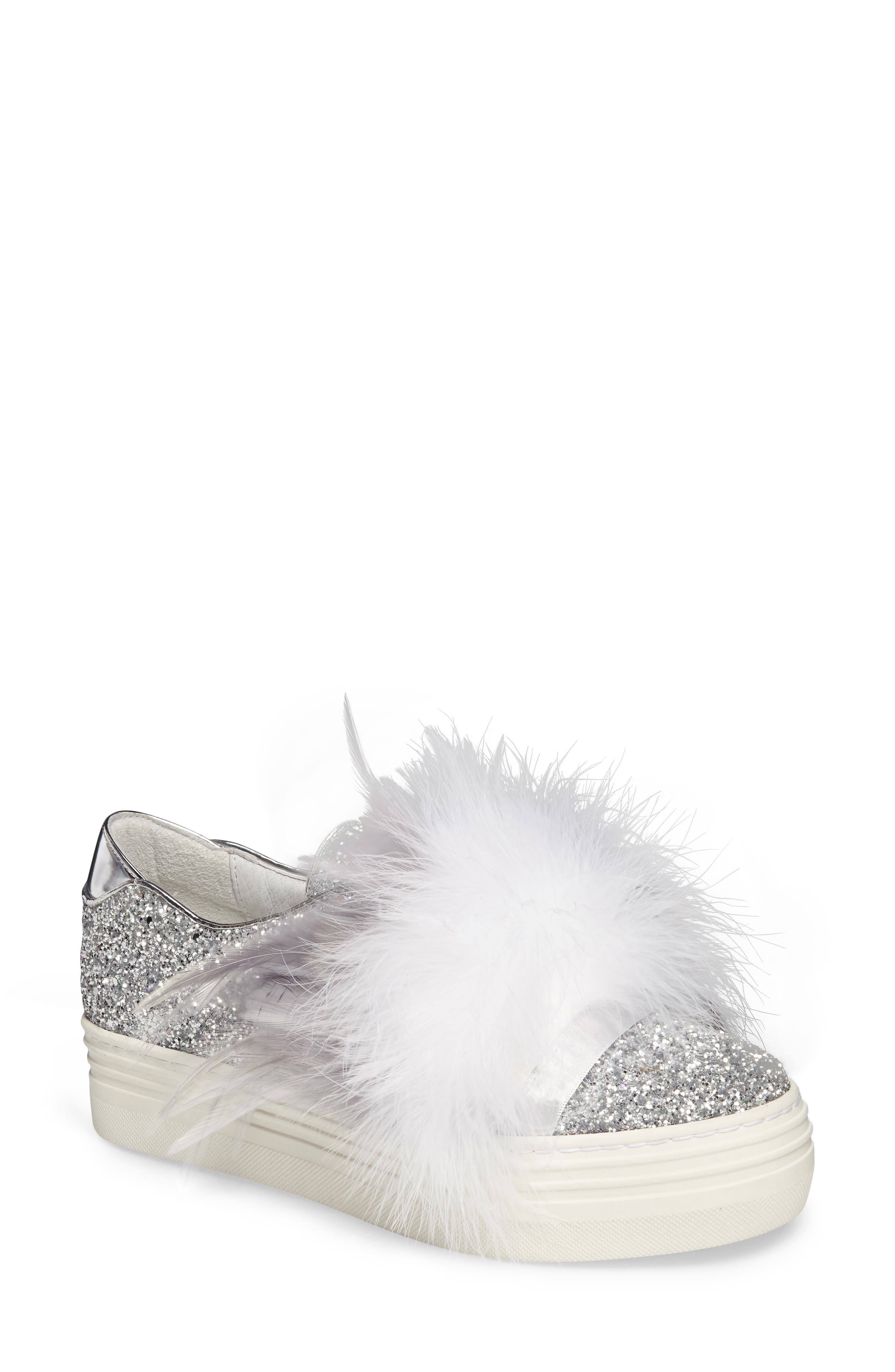 Kate Feathered Slip-On Sneaker,                             Main thumbnail 1, color,                             Grey Feather Silver Glitter