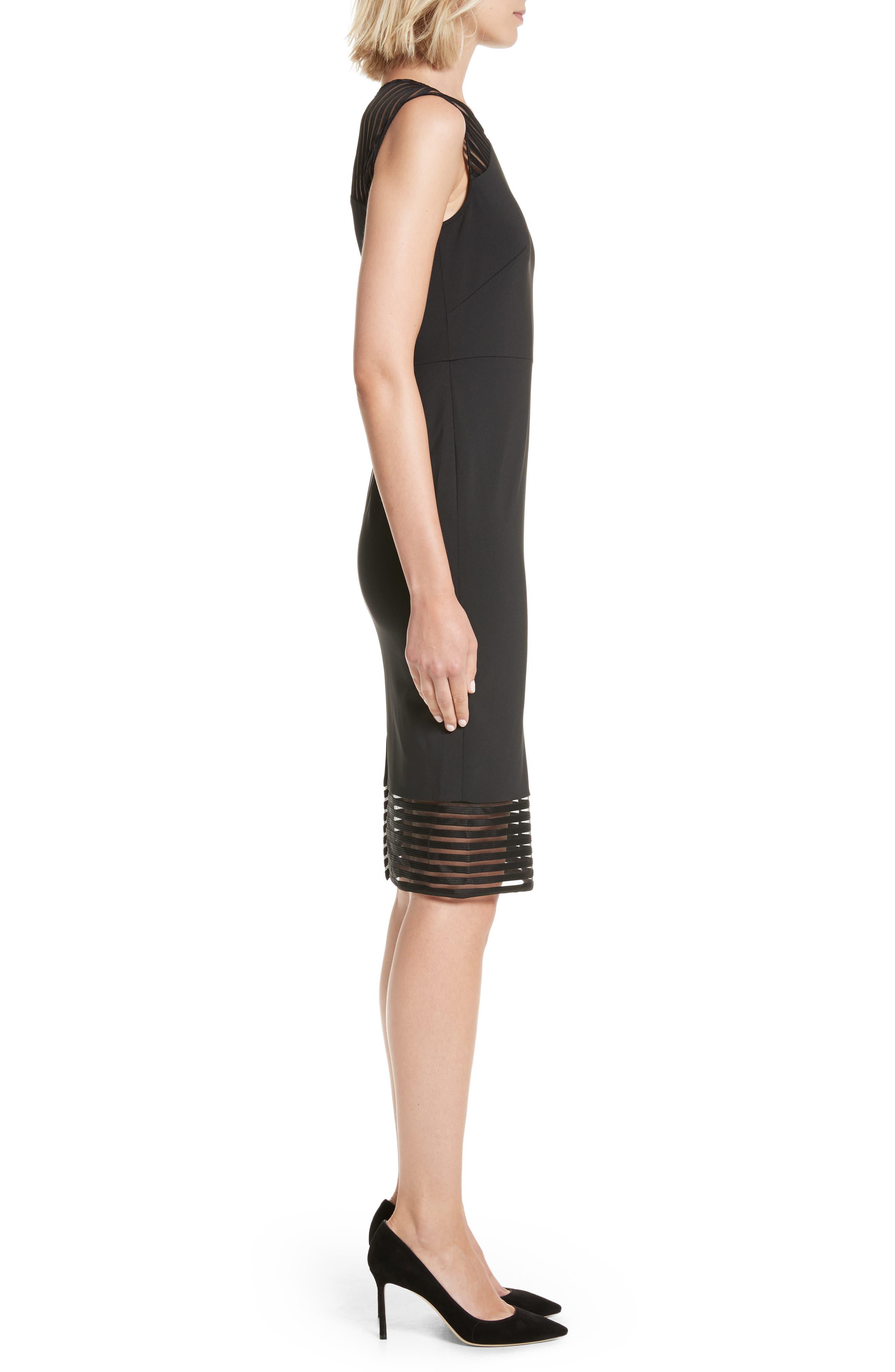 Lucette Mesh Detail Body Con Dress,                             Alternate thumbnail 3, color,                             Black