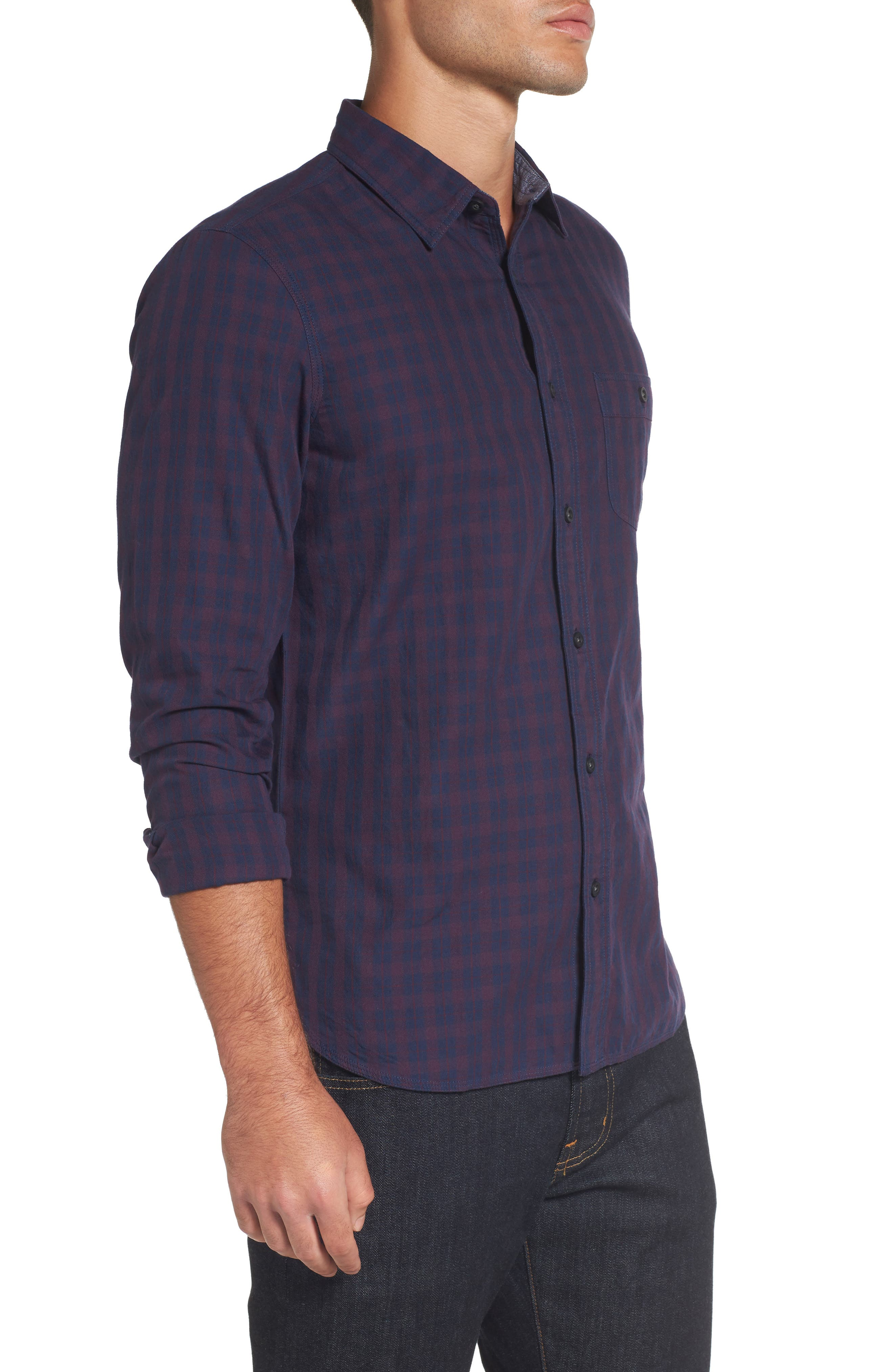 Slim Washed Fit Sport Shirt,                             Alternate thumbnail 3, color,                             Navy Iris Burgundy Stem Check