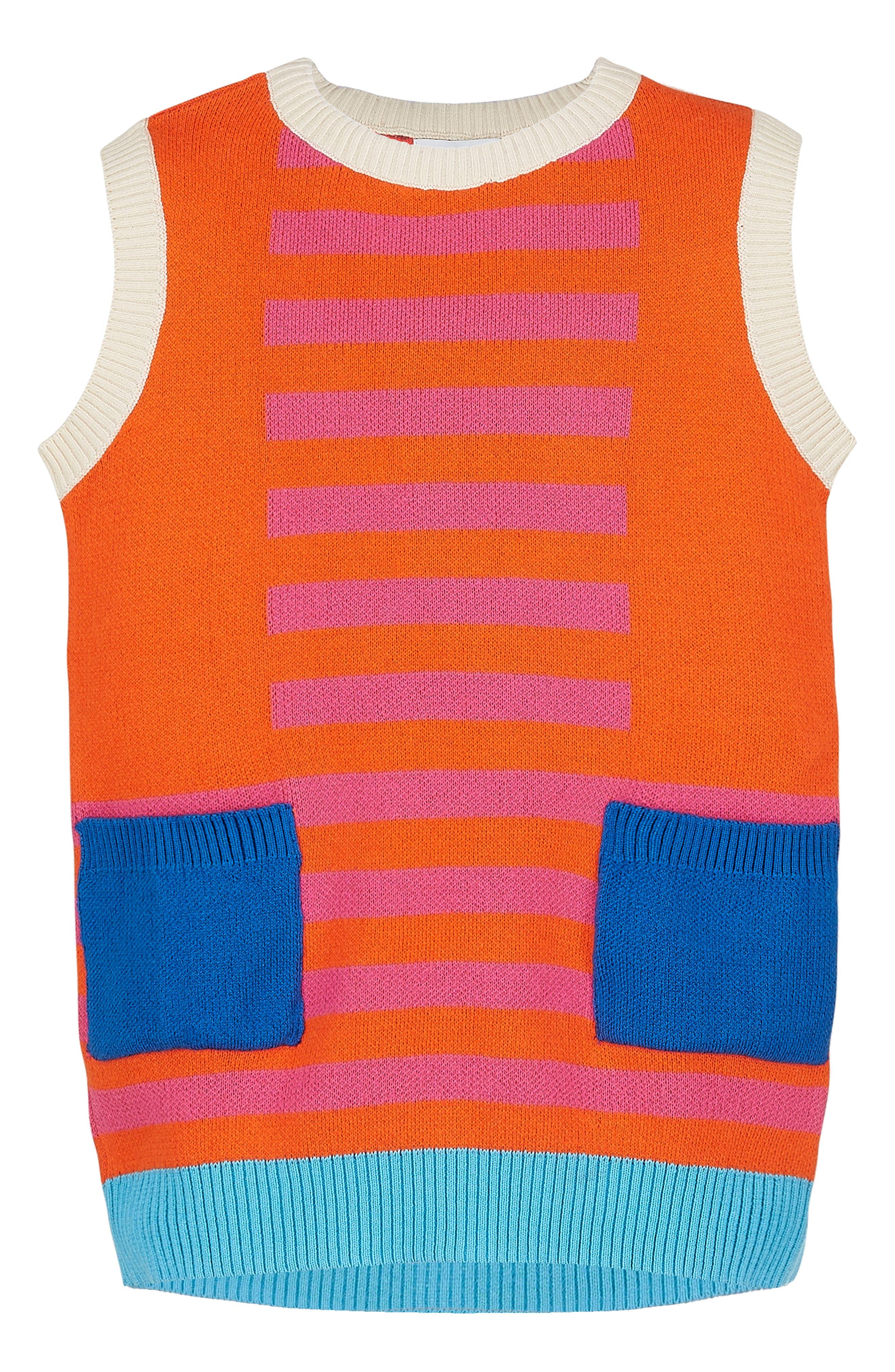 Main Image - Margherita Retro Colorblock Sweater Knit Dress (Toddler Girls & Little Girls)