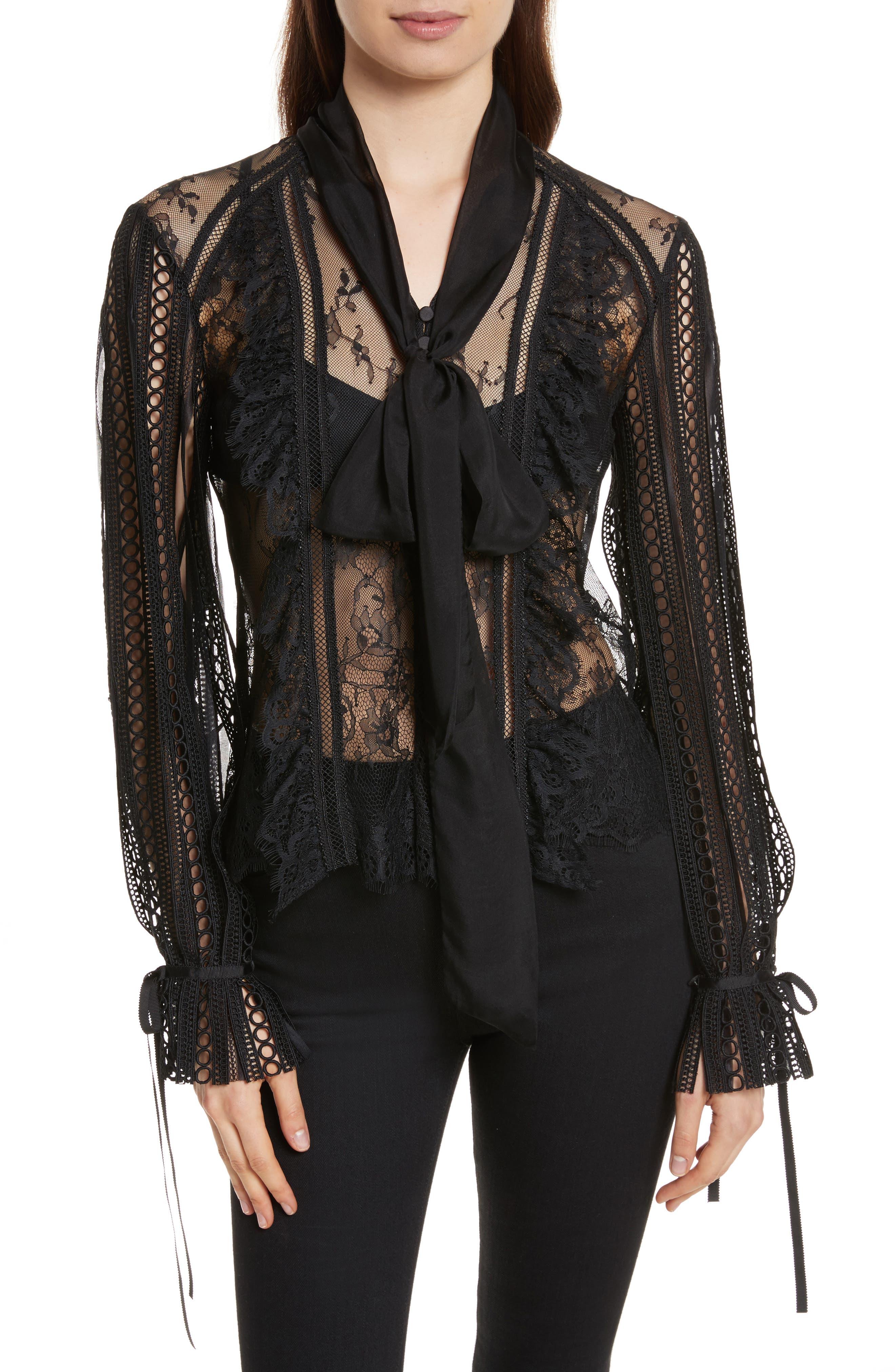 Paneled Lace Top,                         Main,                         color, Black