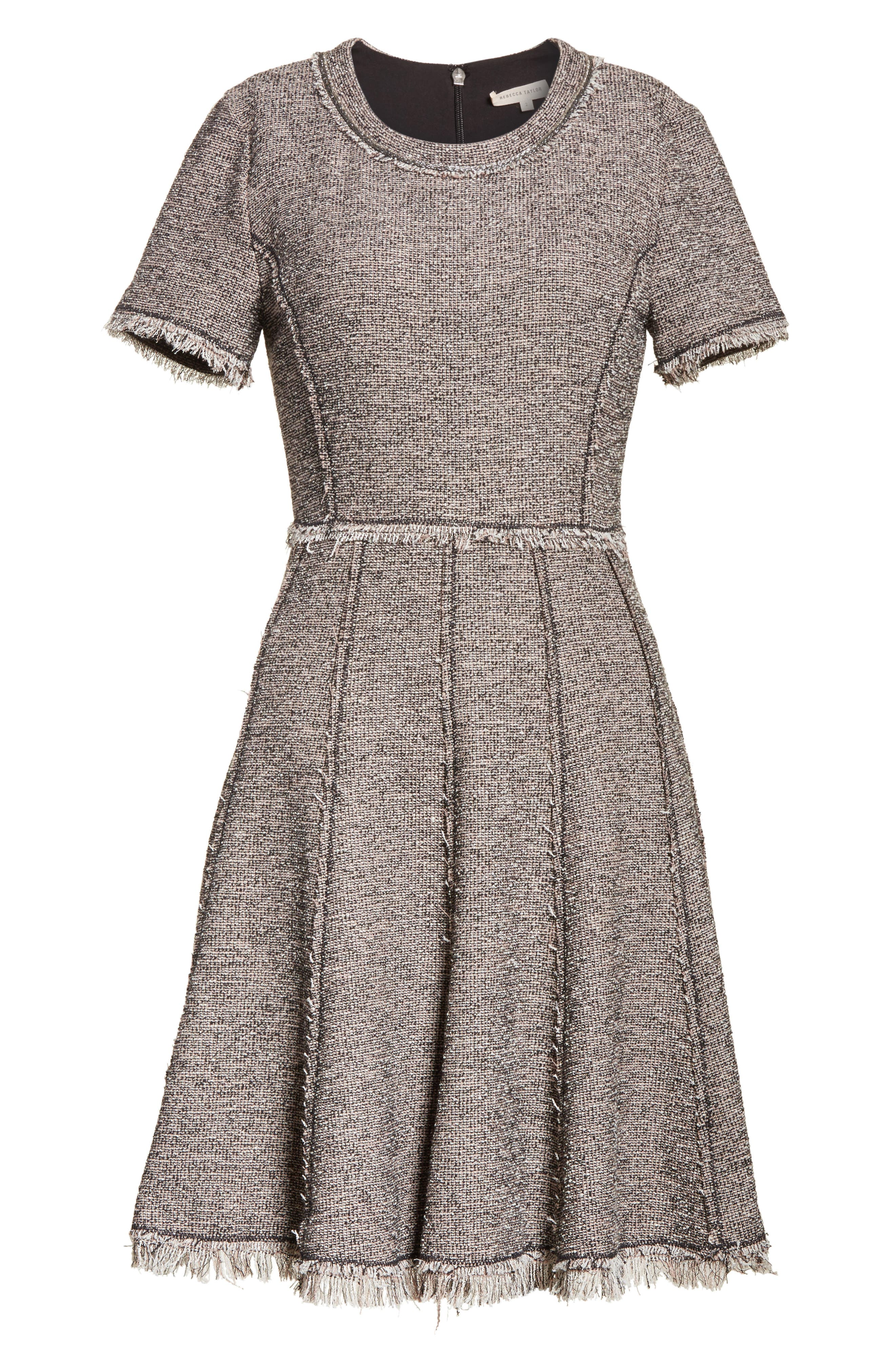 Stretch Tweed Dress,                             Alternate thumbnail 6, color,                             Nude Combo