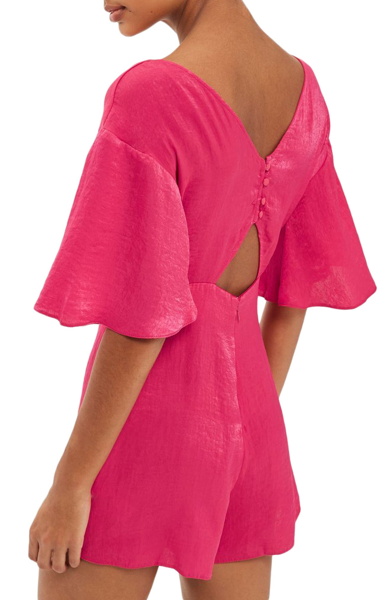 Knot Plunge Romper,                             Alternate thumbnail 2, color,                             Bright Pink