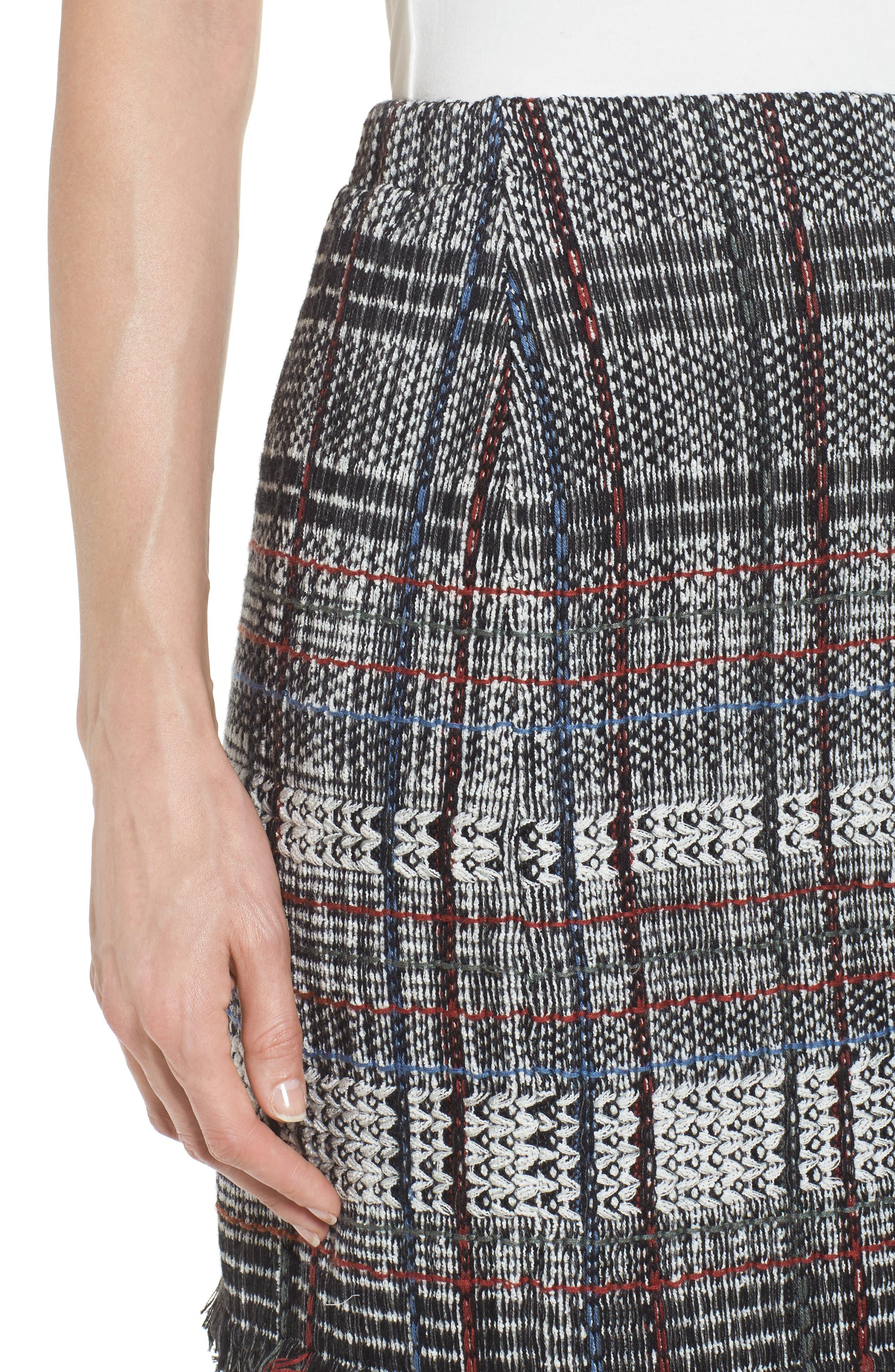 Checked Fringe Skirt,                             Alternate thumbnail 4, color,                             Multi