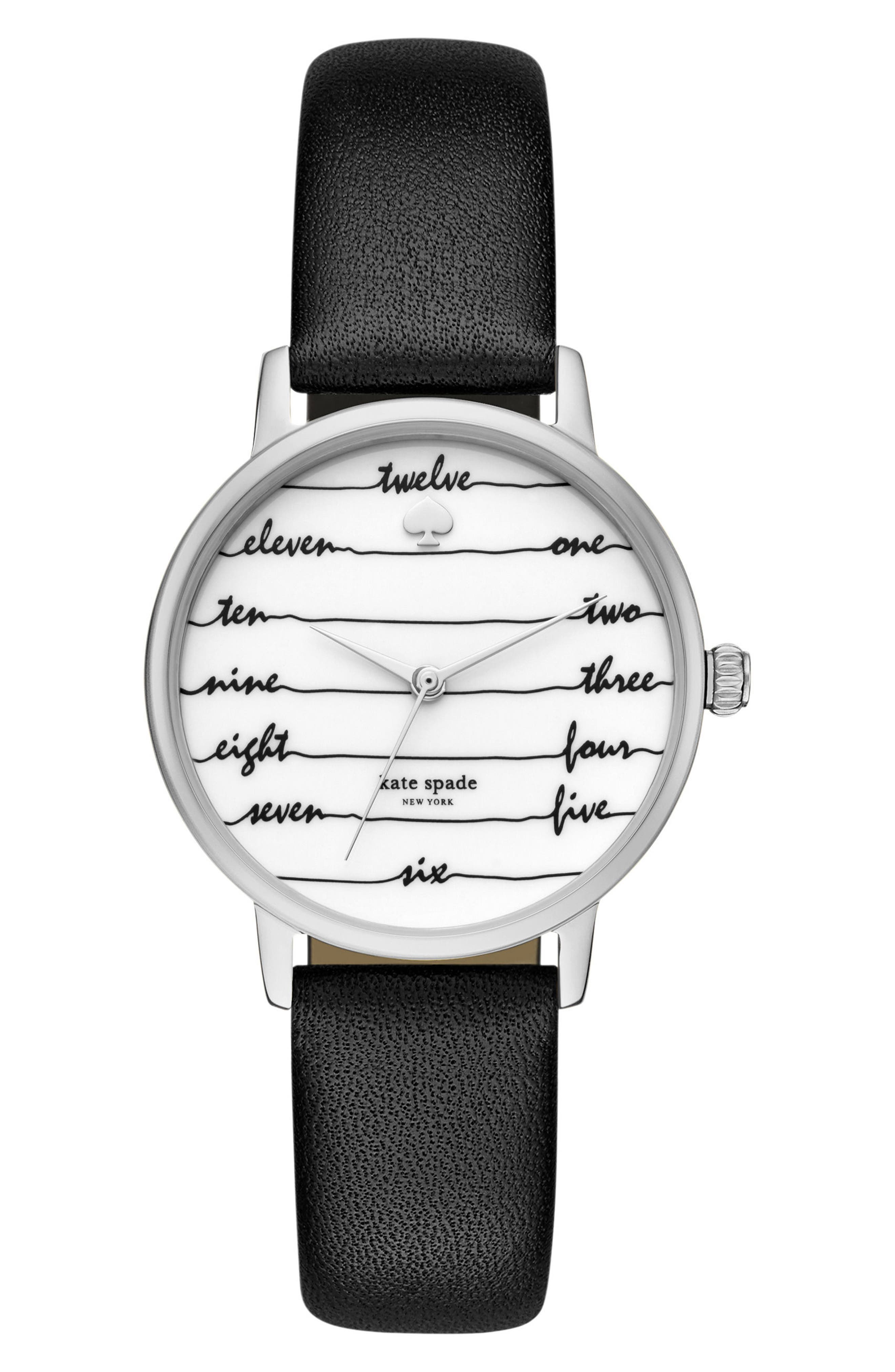 metro wine & dine leather strap watch, 34mm,                         Main,                         color, Black/ White/ Silver