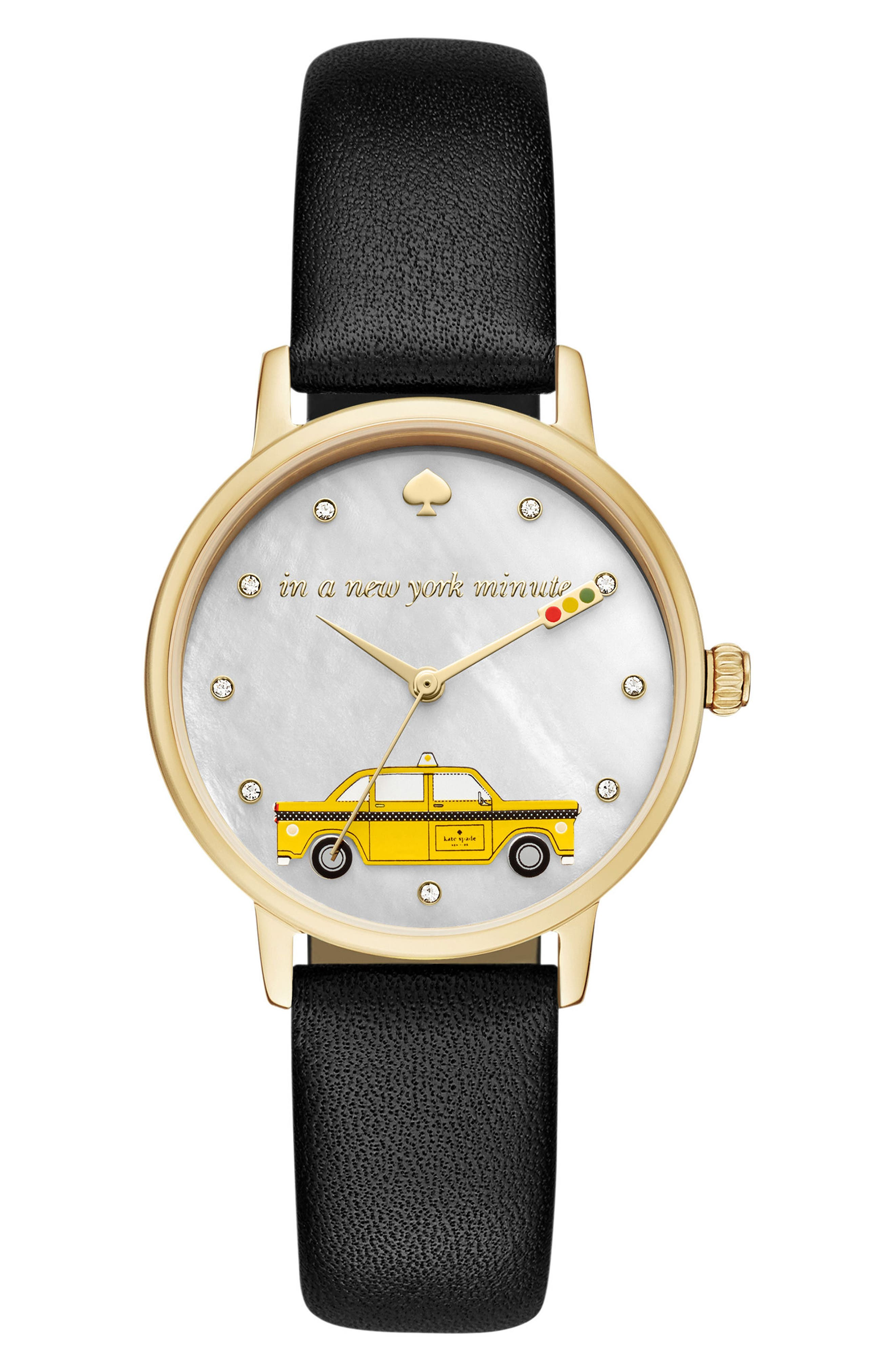 metro taxi leather strap watch, 34mm,                         Main,                         color, Black/ Mop/ Gold