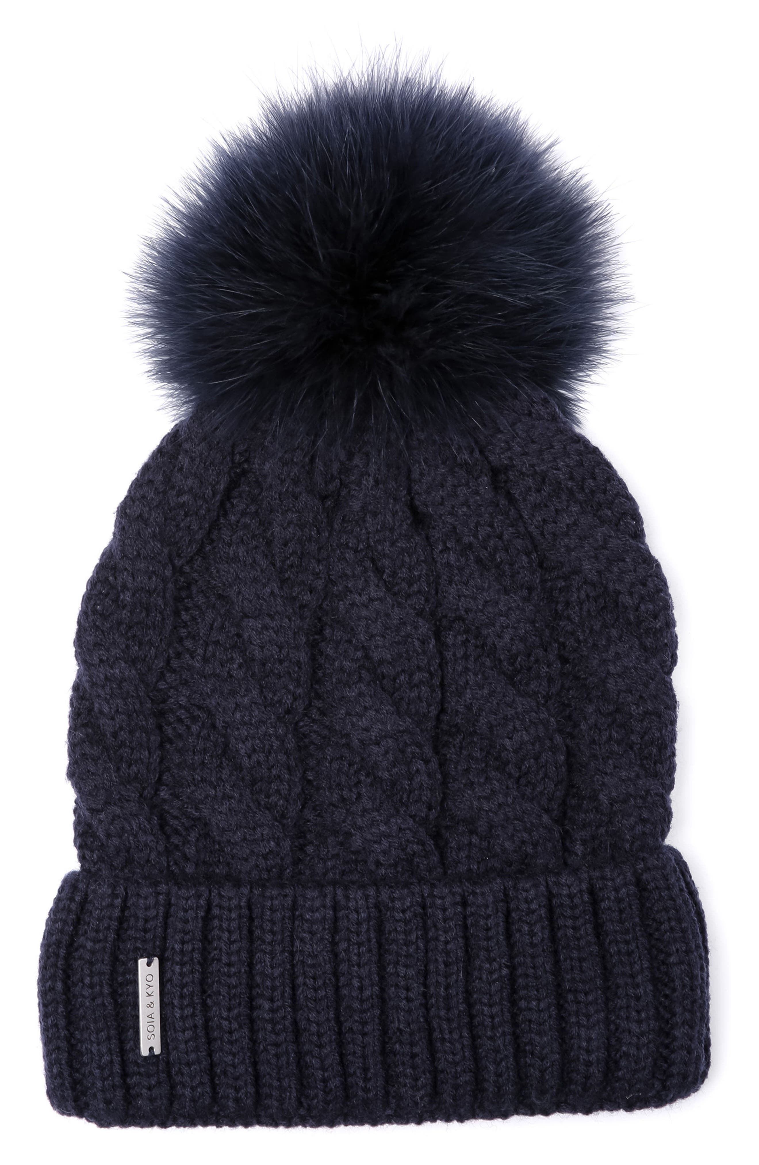 Alternate Image 1 Selected - Soia & Kyo Cable Knit Beanie with Removable Feather Pompom
