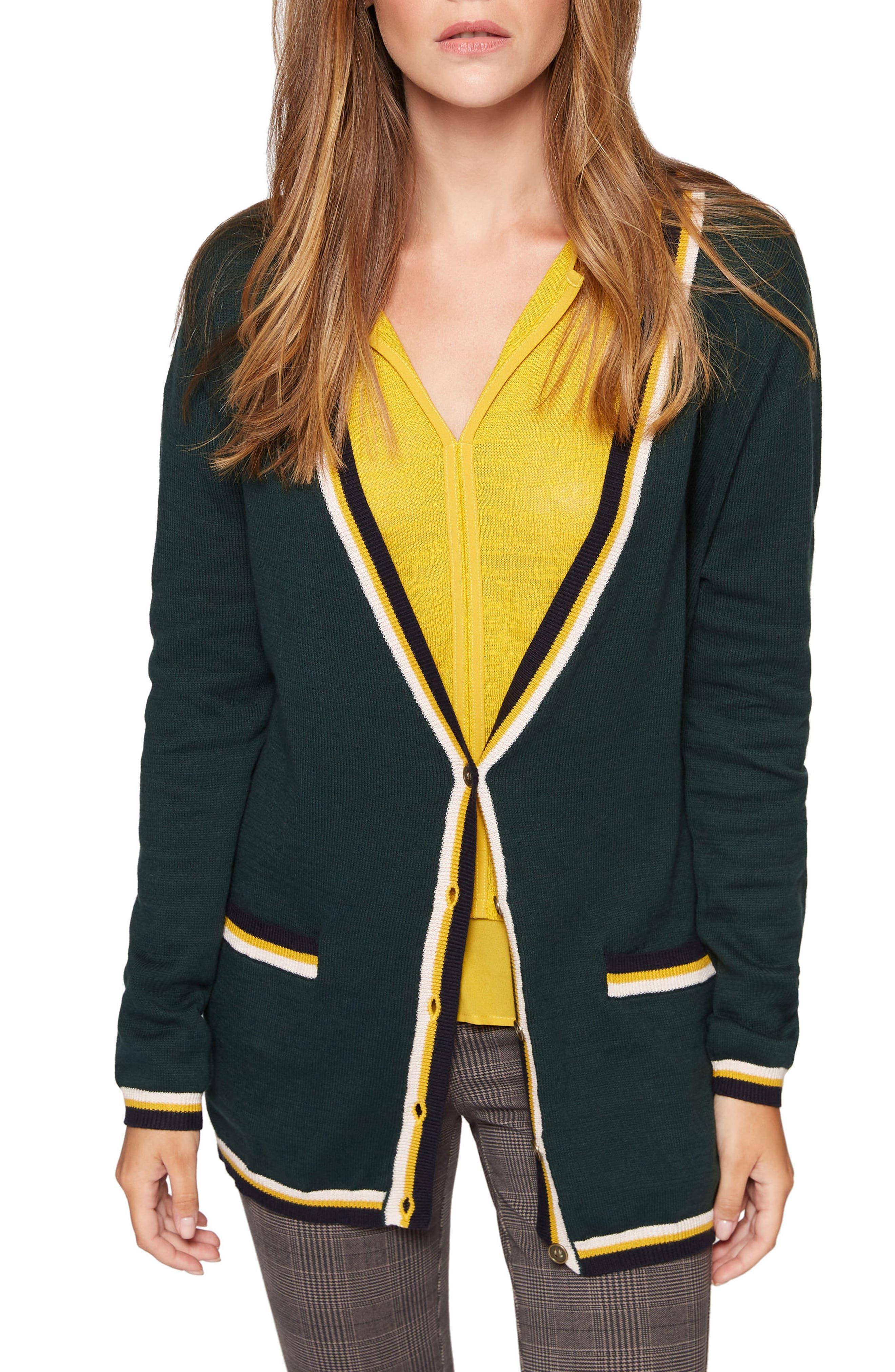 Cotton Blend Club Cardigan,                             Main thumbnail 1, color,                             Meadow Green Multi