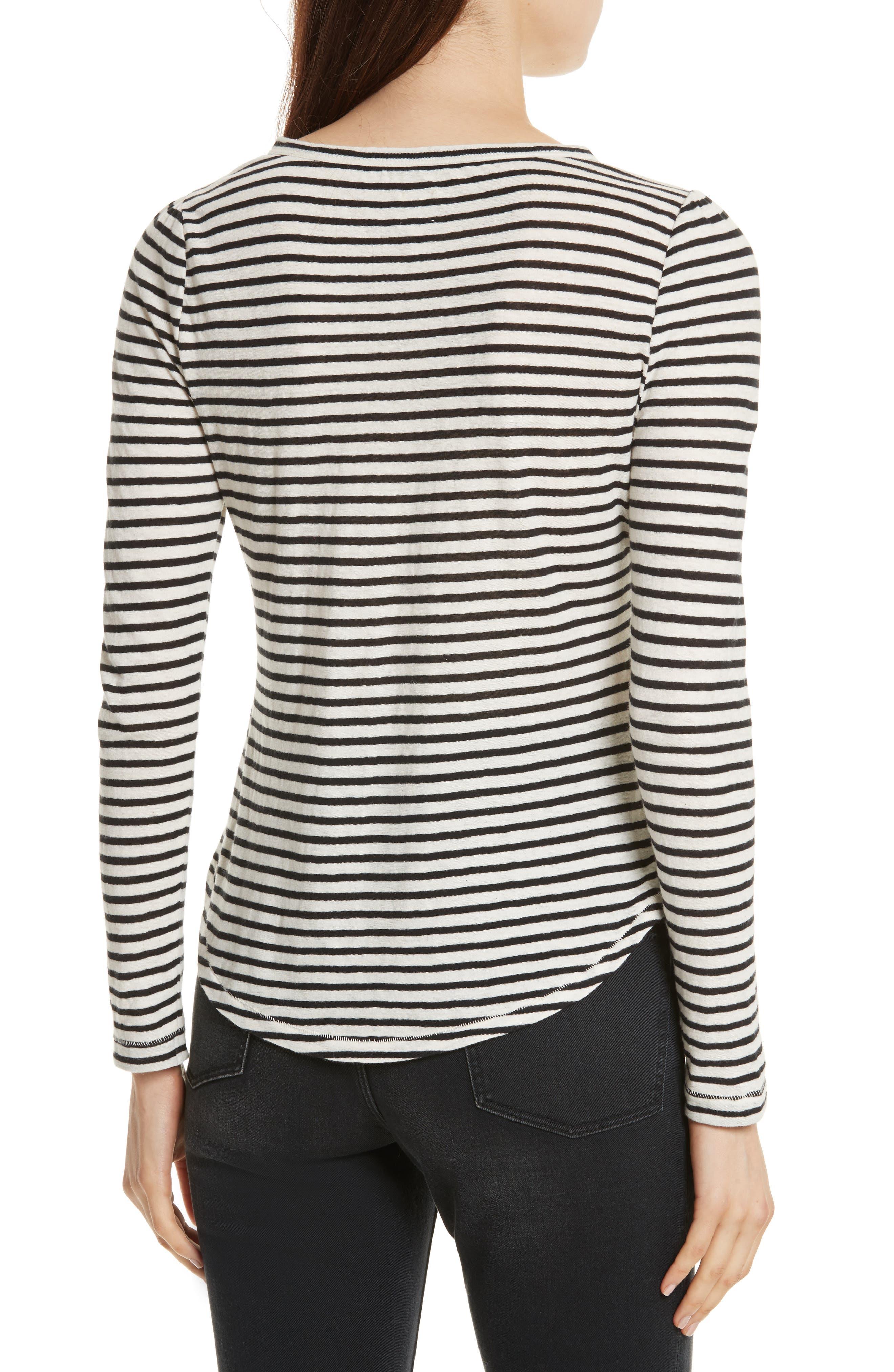 Long Sleeve Stripe Tee,                             Alternate thumbnail 2, color,                             Chalk/ Black
