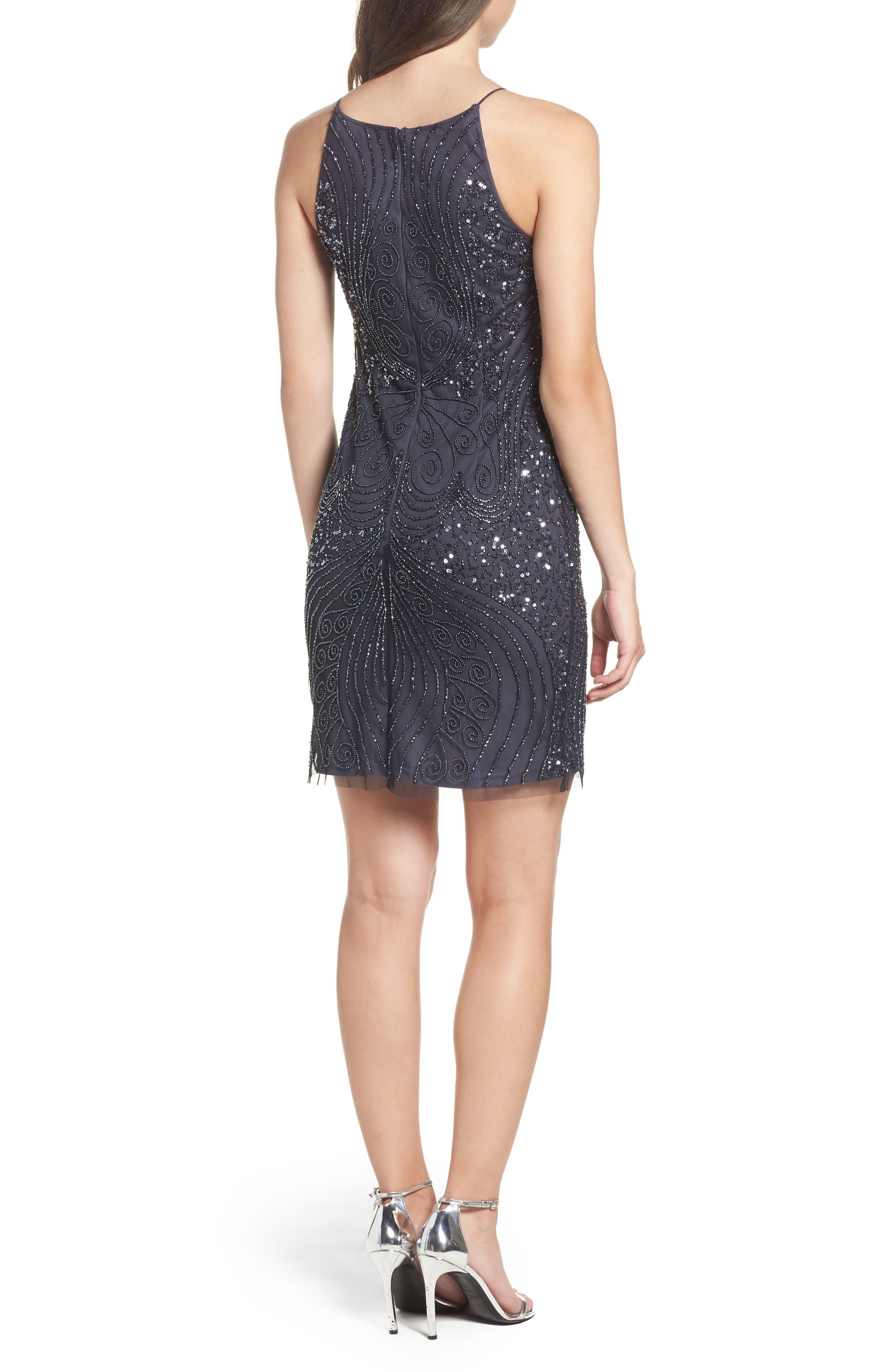 Beaded Sheath Dress,                             Alternate thumbnail 2, color,                             Charcoal