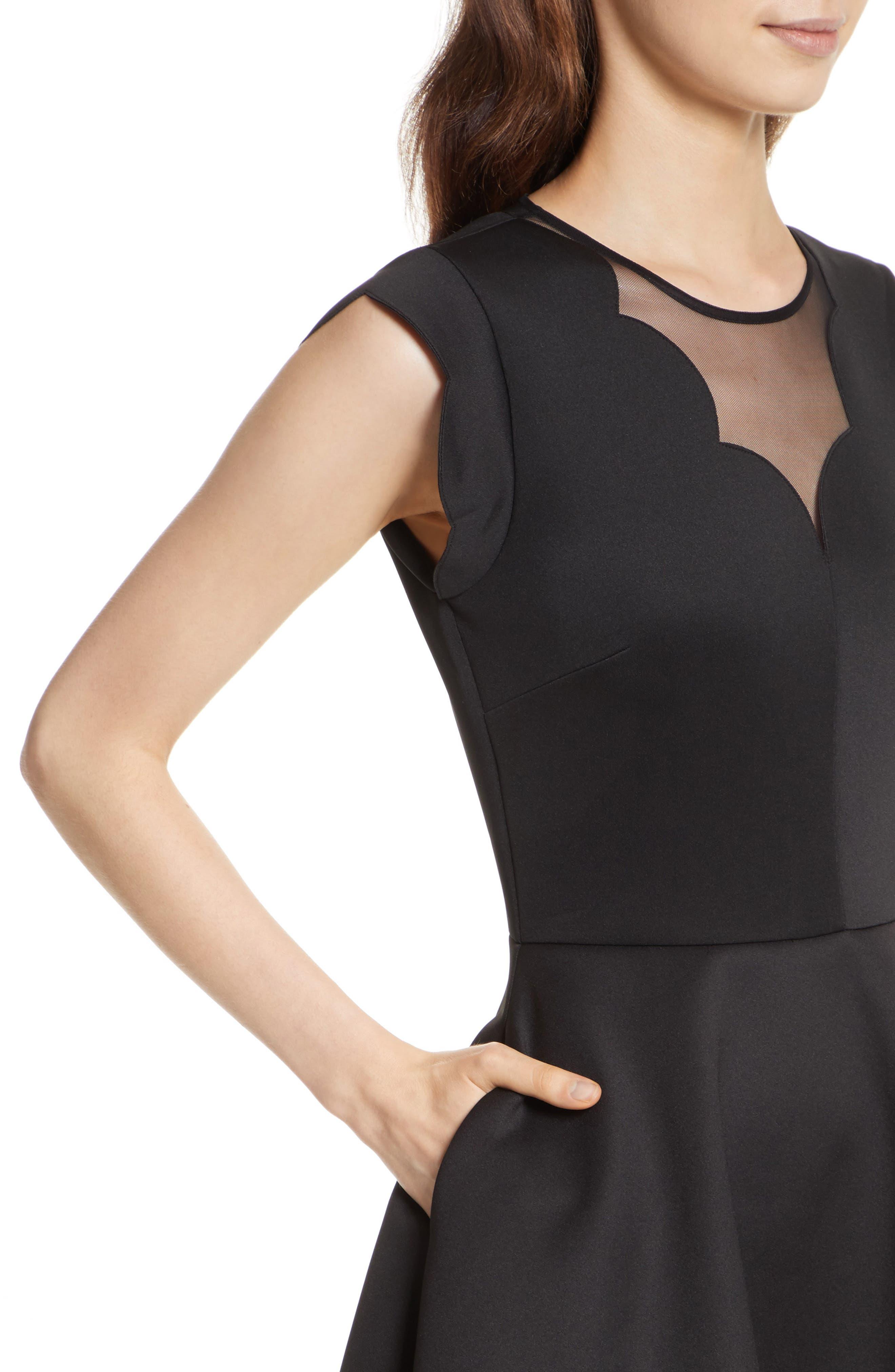 Mesh Panel Scallop Skater Dress,                             Alternate thumbnail 4, color,                             Black