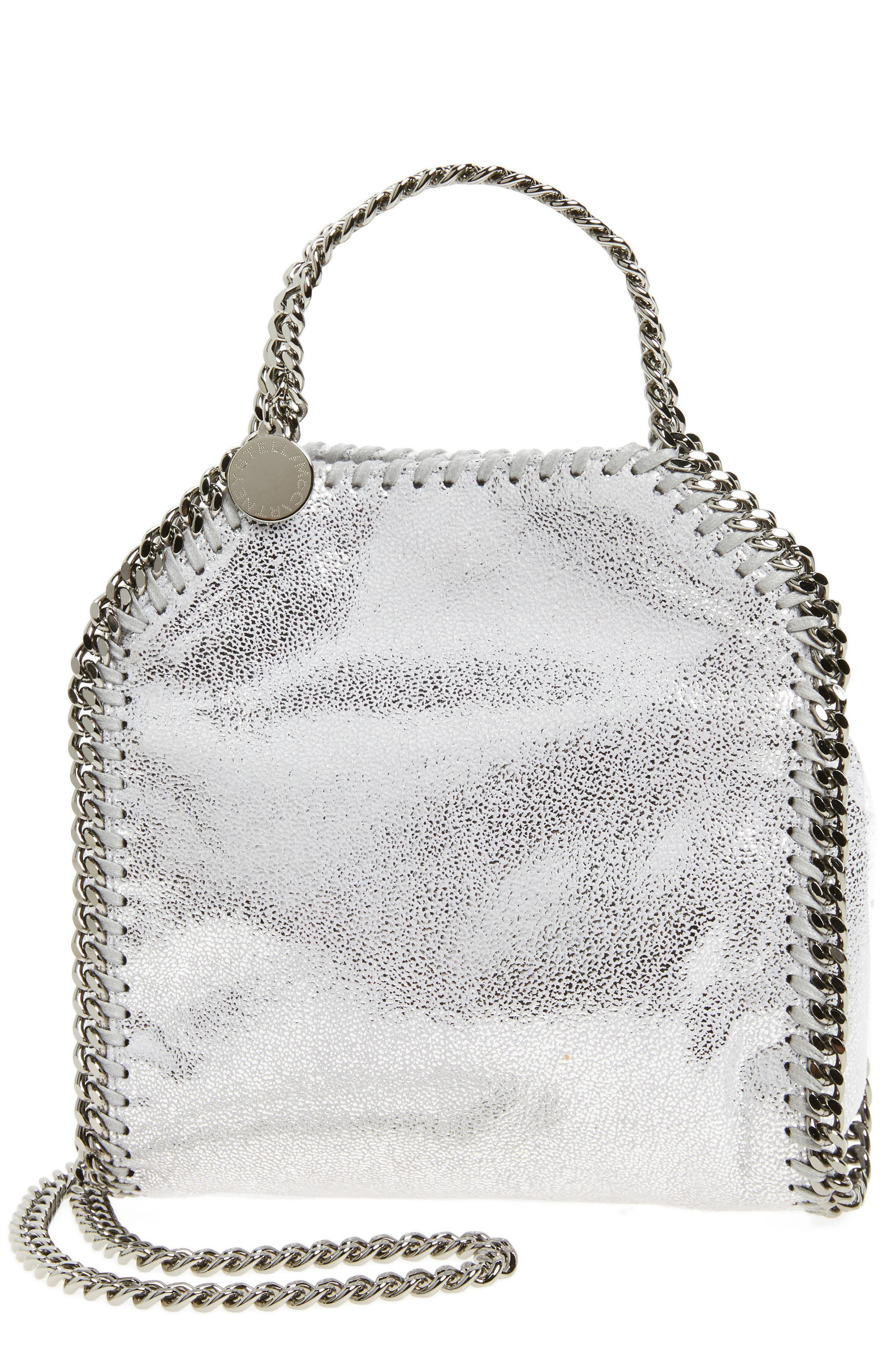 'Tiny Falabella' Metallic Faux Leather Crossbody Bag,                             Main thumbnail 1, color,                             Silver